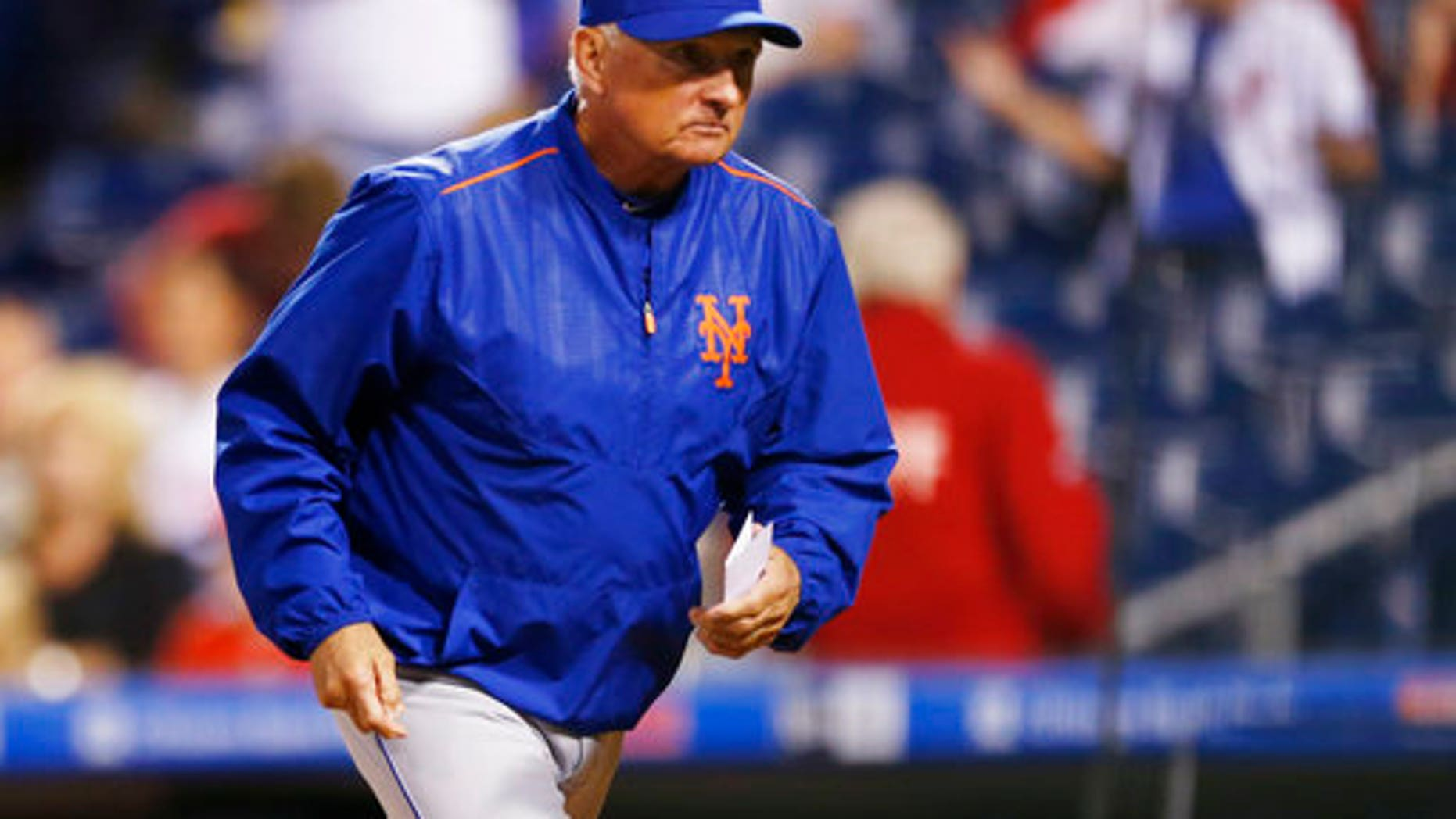 New York Mets manager Terry Collins will resign after the team's final game this season and take a front-office position with the team.  (AP Photo/Laurence Kesterson)