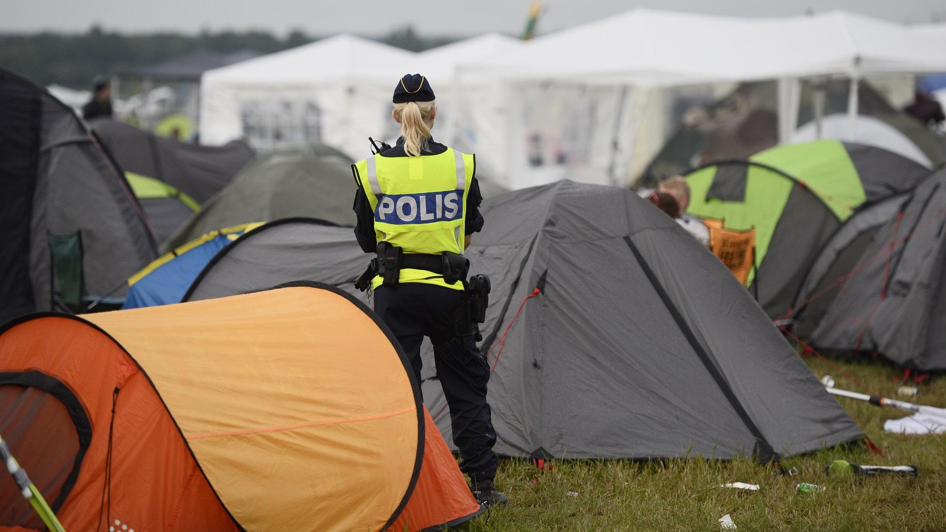 Security in a campsite at the Bravalla Festival.