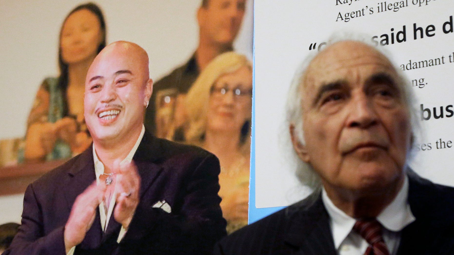 """Tony Serra, right, an attorney for Raymond """"Shrimp Boy"""" Chow, pictured at left, in 2014."""