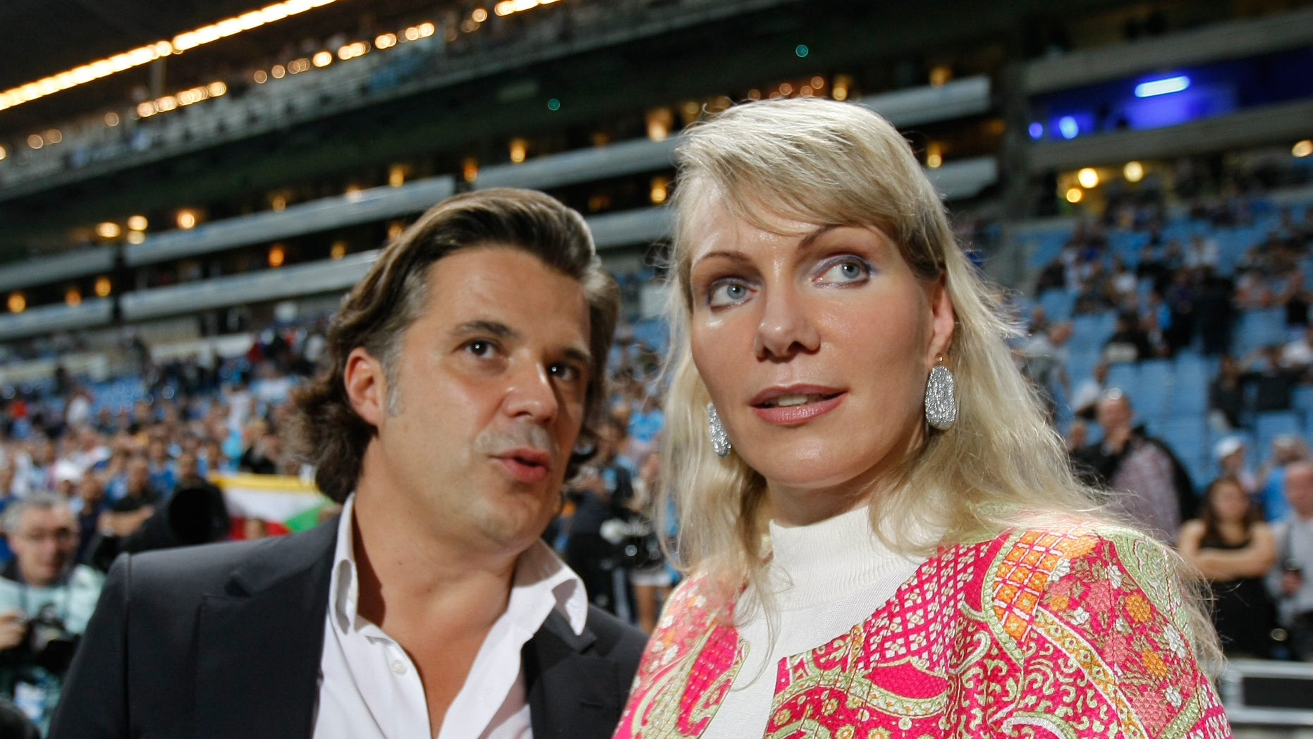 Margarita Louis-Dreyfus, right, with Olympique Marseille President Vincent Labrune in 2012.