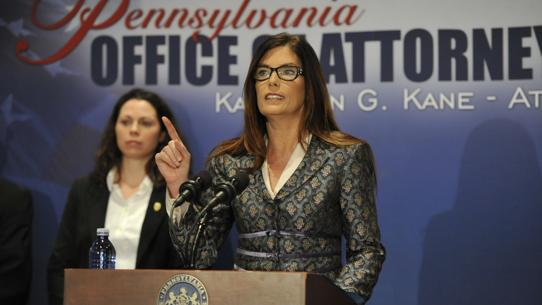 Pennsylvania Attorney General Kathleen Kane speaks about the 147-page report on sexual abuse in the Altoona-Johnstown Diocese on Tuesday.