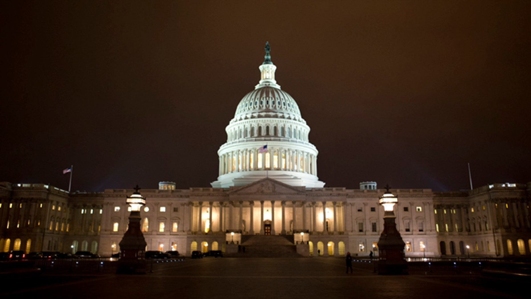 Jan. 1, 2013: The lights of the U.S. Capitol remain lit into the night.