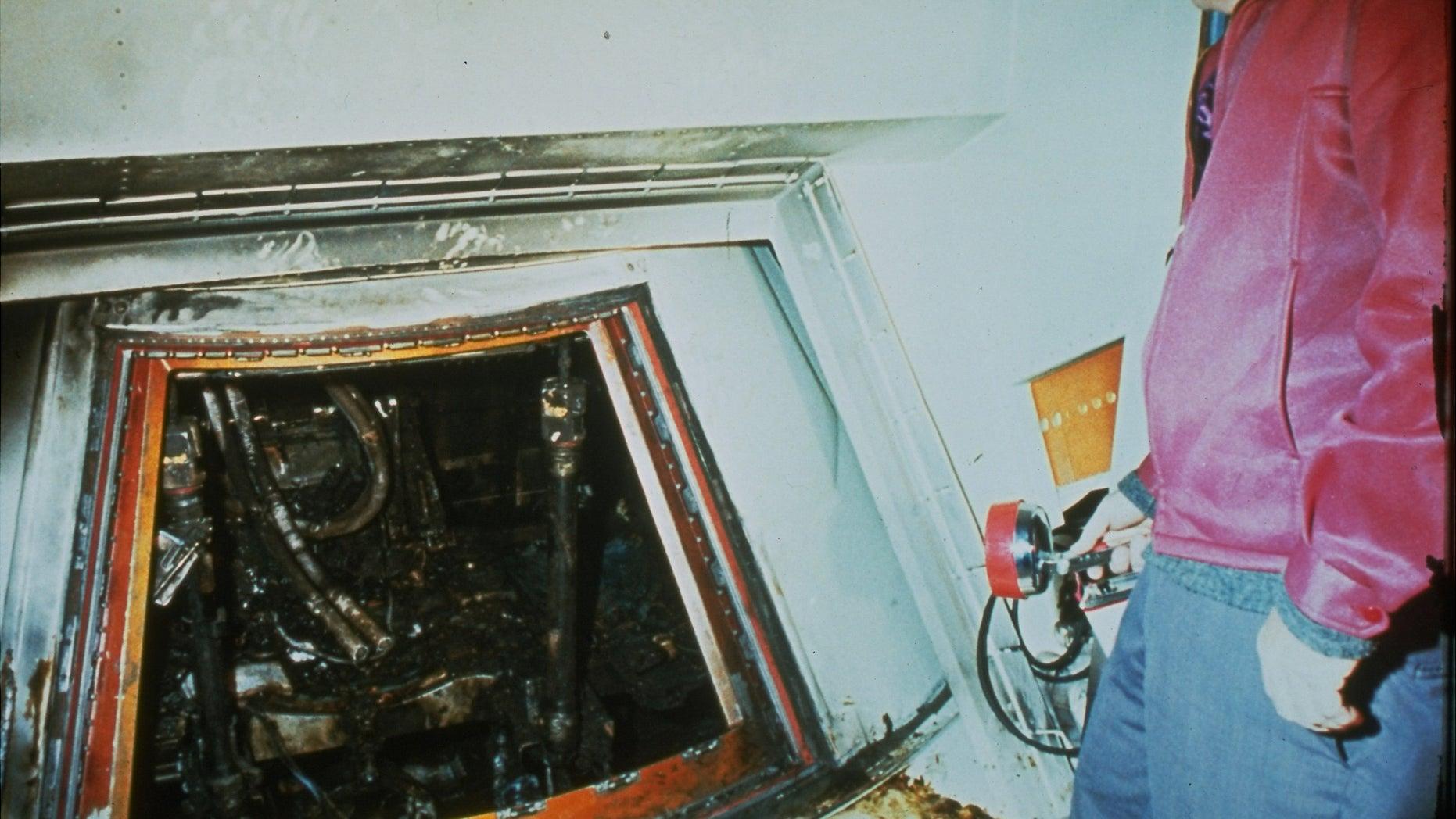 A 1967 file photo shows the charred interior of the Apollo 1 capsule.