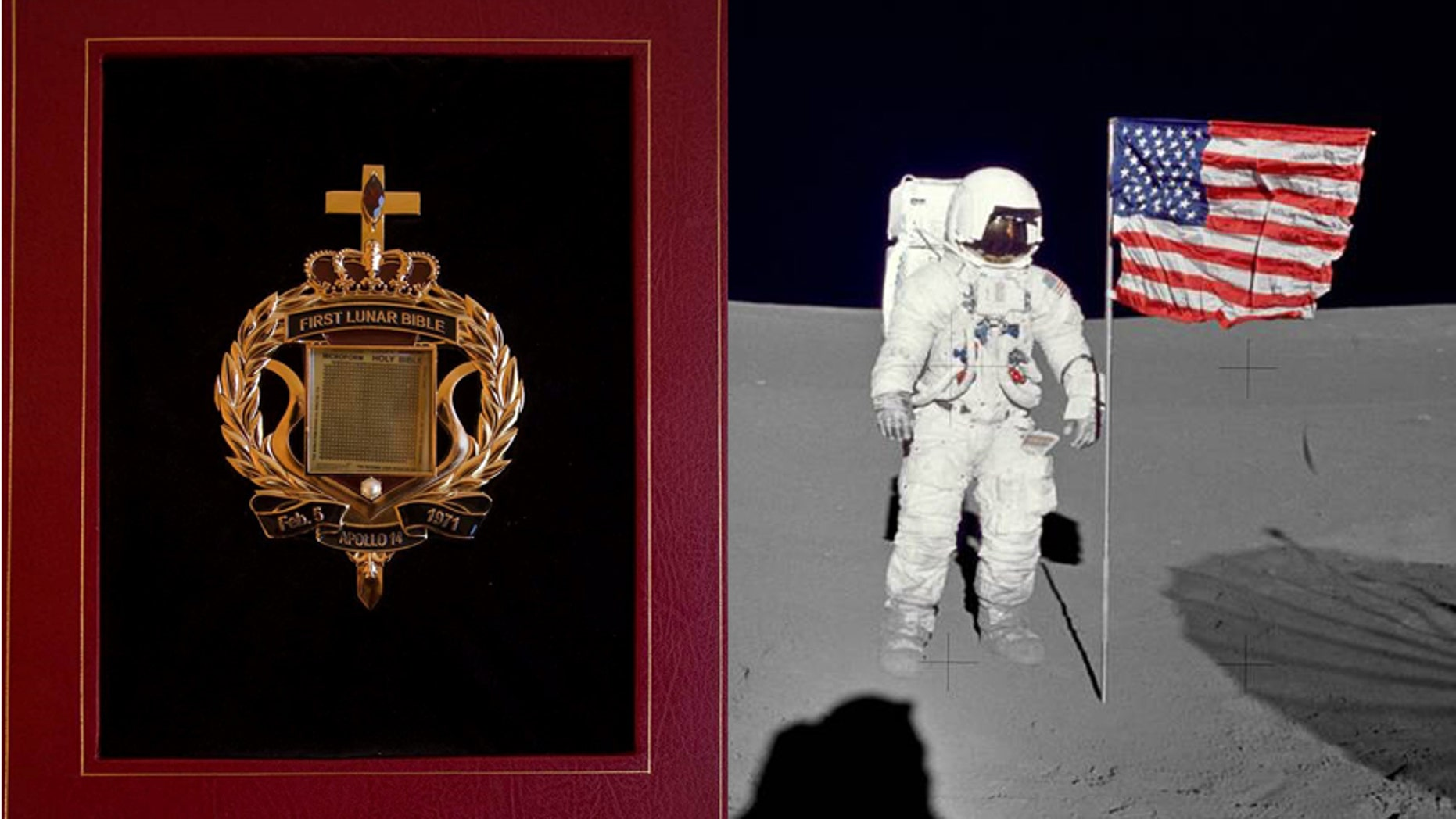 The tiny Bible that traveled to the Moon/File photo of astronaut Edgar Mitchell on the lunar surface (Nate D. Sanders Auctions/NASA)