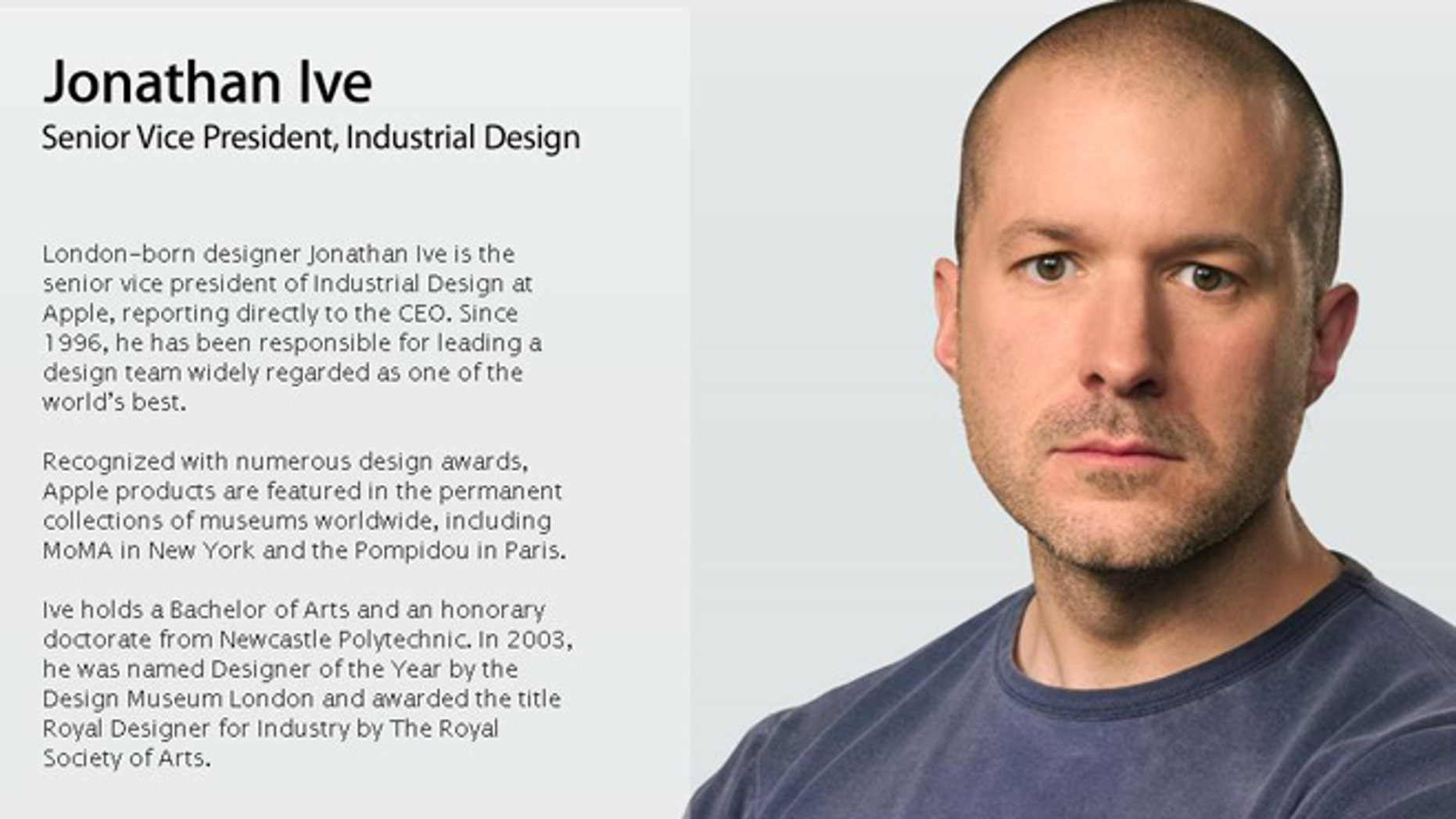 Apple executive Jonathan Ive heads up design for the consumer electronics company, and is responsible for many of Apple's most iconic designs.