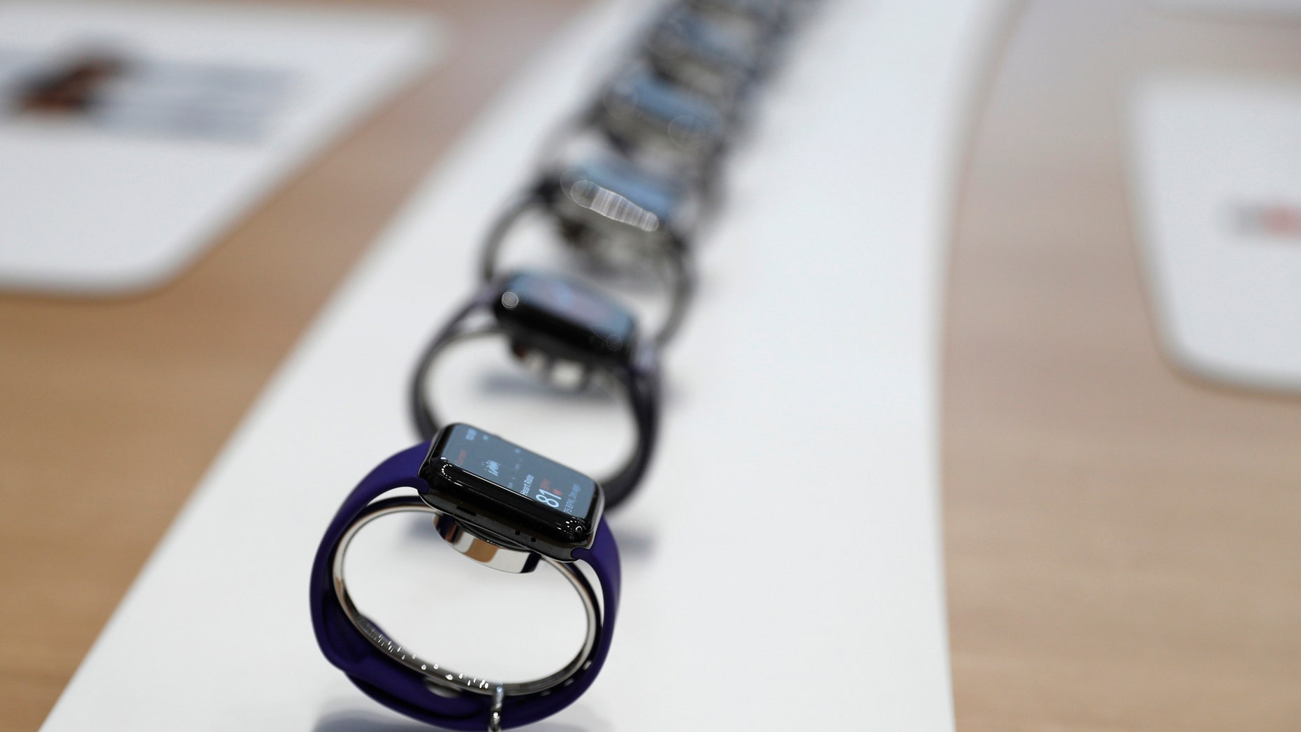 Apple Watches are displayed during a launch event in Cupertino, California, U.S. September 12, 2017. (REUTERS/Stephen Lam)