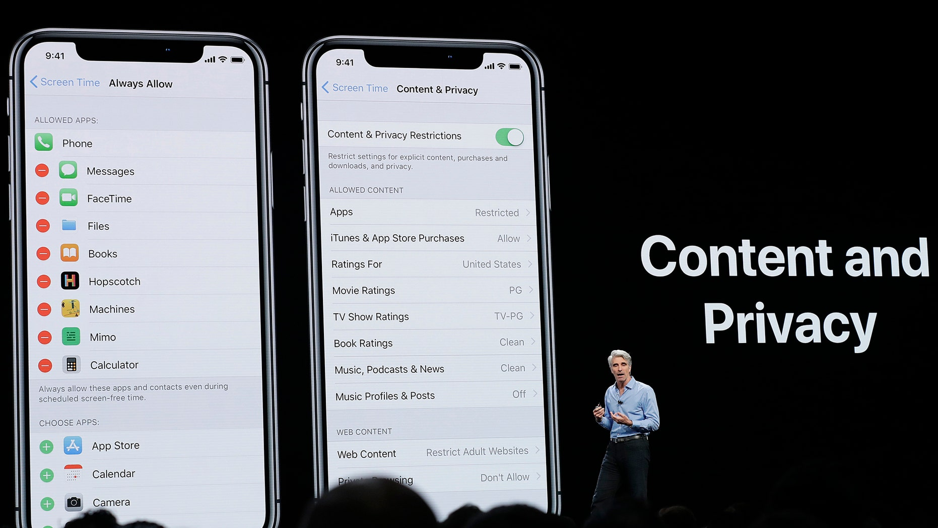 Craig Federighi, Apple's senior vice president of Software Engineering, speaks about content and privacy during an announcement of new products at the Apple Worldwide Developers Conference Monday, June 4, 2018, in San Jose, Calif. (AP Photo/Marcio Jose Sanchez)