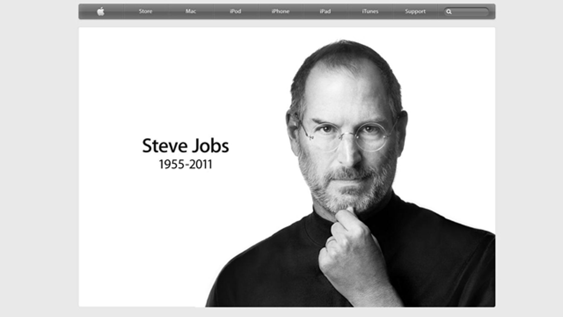 A screen shot of the website for Apple.com, which offered a simple yet honest tribute to the man who transformed personal computers.