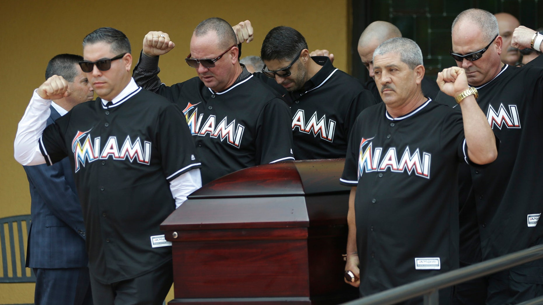 Sept. 29, 2016: Pallbearers wearing Miami Marlins jerseys carry the casket of Miami Marlins pitcher Jose Fernandez, after a funeral service at St. Brendan's Catholic Church in Miami.