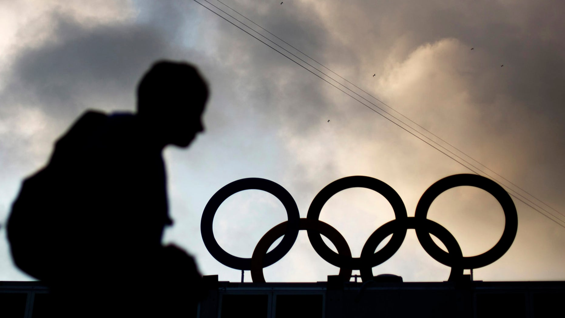 Aug. 2, 2016: The Olympic rings atop the beach volleyball venue stand against clouds moving in over Copacabana Beach ahead of the upcoming 2016 Summer Olympics in Rio de Janeiro, Brazil.