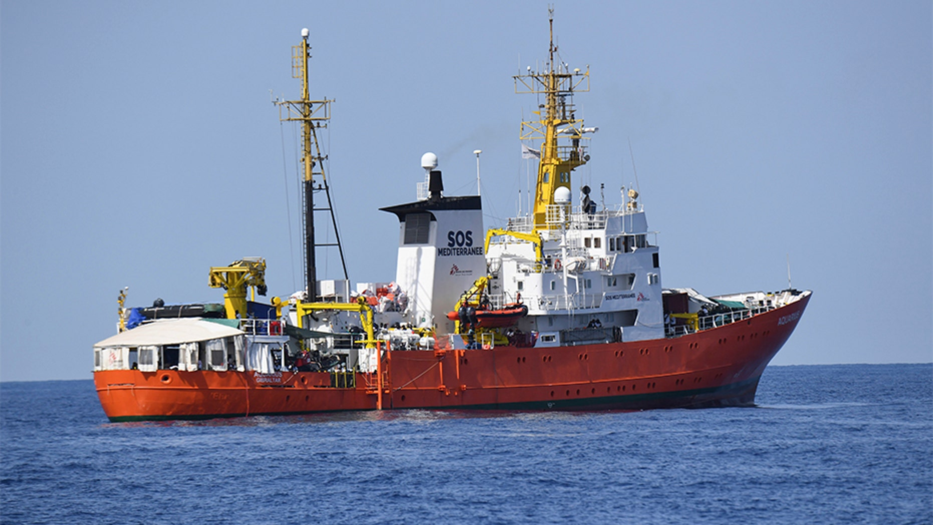 "June 12, 2018: The French NGO ""SOS Mediterranee"" Aquarius ship is seen in the Mediterranean Sea."