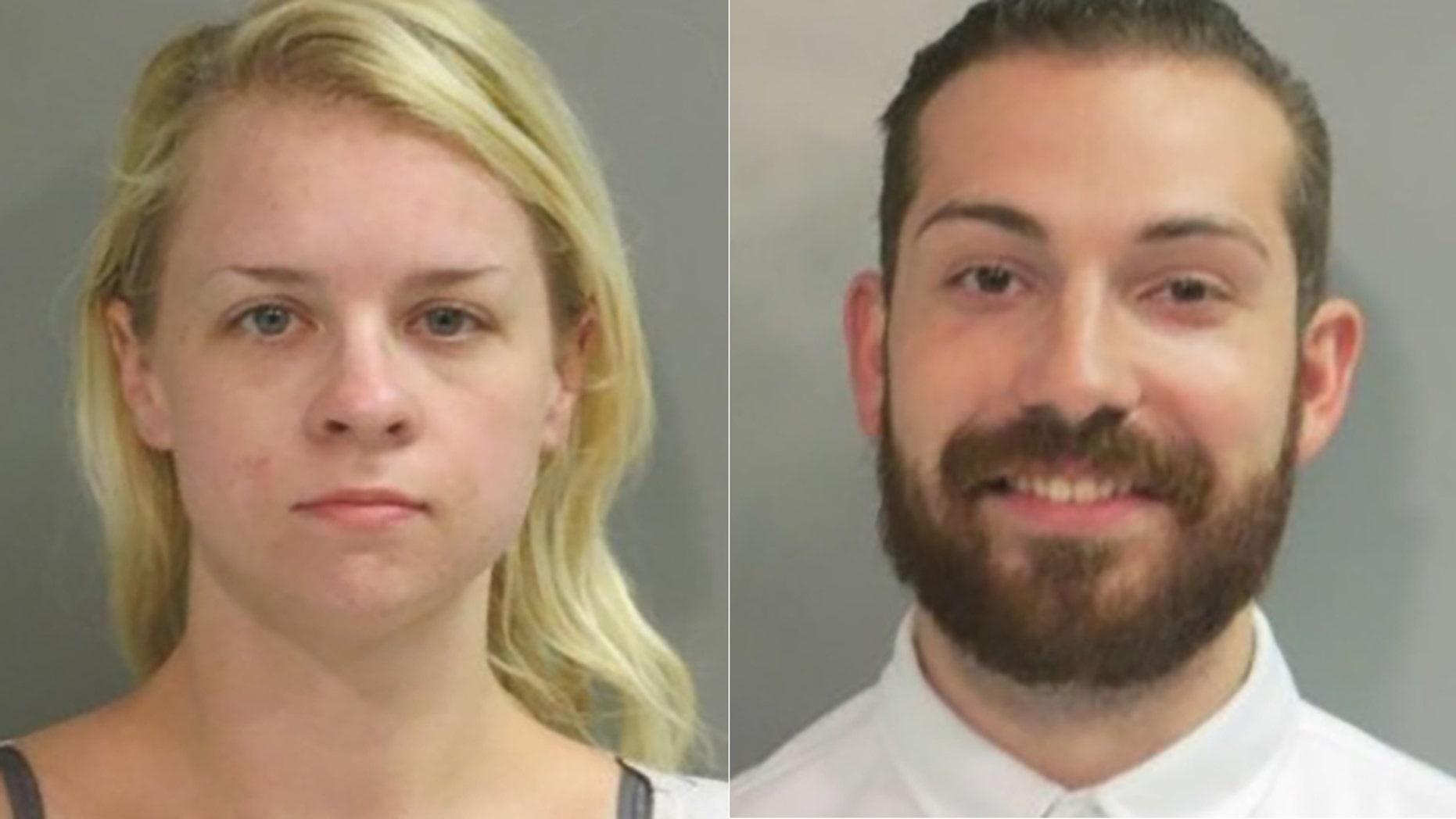 Maxine Feldstein, left, allegedly posed as a California deputy to help her boyfriend, Nicholas Lowe, escape from jail.