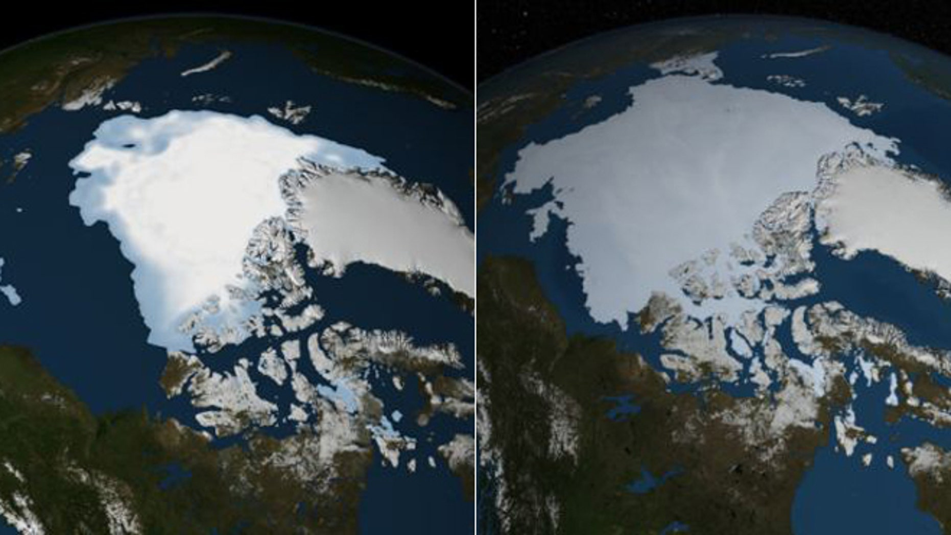 NASA satelite images show the changing Artic sea ice coverage. from August 2012 (left) to August 2013 (right) -- a growth of about a million square miles.