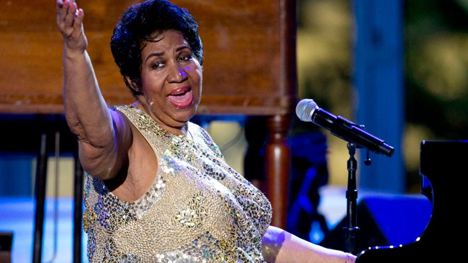 In this April 29, 2016 file photo, Aretha Franklin performs at the International Jazz Day Concert on the South Lawn of the White House of the Washington.