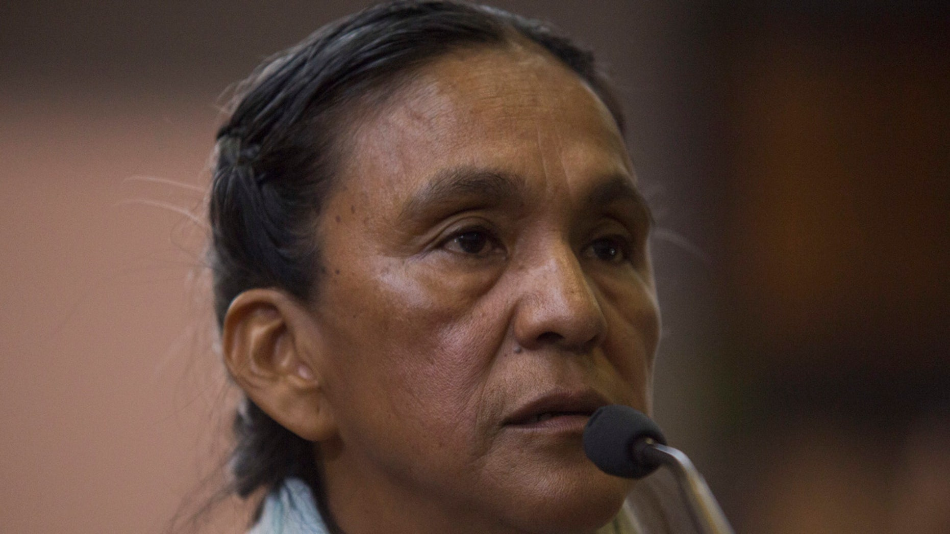 Activist Milagro Sala speaks before being given a guilty verdict at a courtroom in San Salvador de Jujuy, in the northern Argentine province of Jujuy, Wednesday, Dec. 28, 2016.
