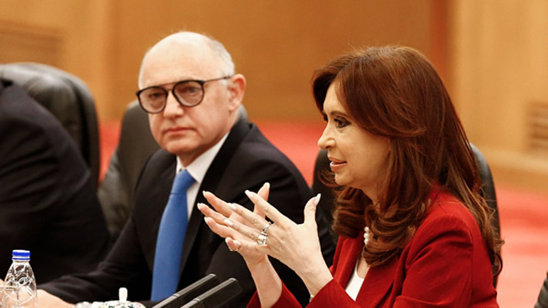 Argentinian President Cristina Fernandez and foreign minister Hector Timerman on February 4, 2015 in Beijing, China.
