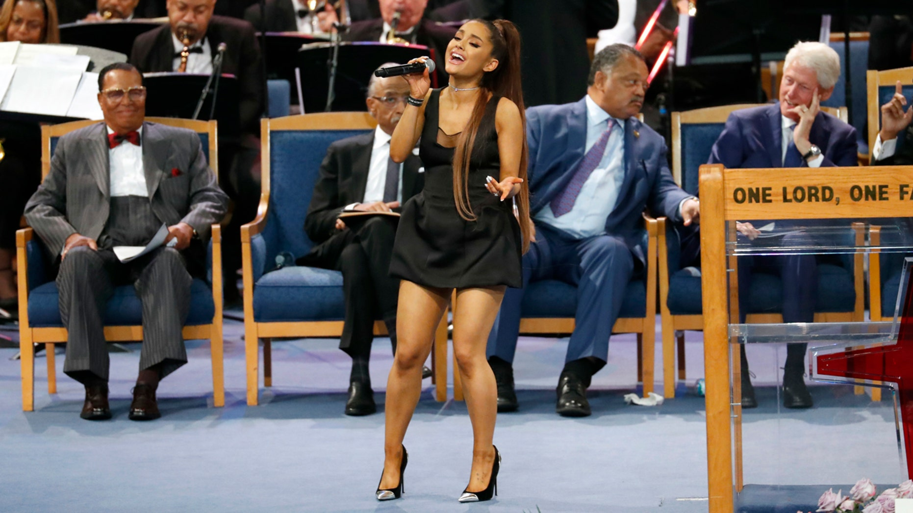 Ariana Grande performs during the funeral service for Aretha Franklin at Greater Grace Temple, Friday, Aug. 31, 2018, in Detroit.