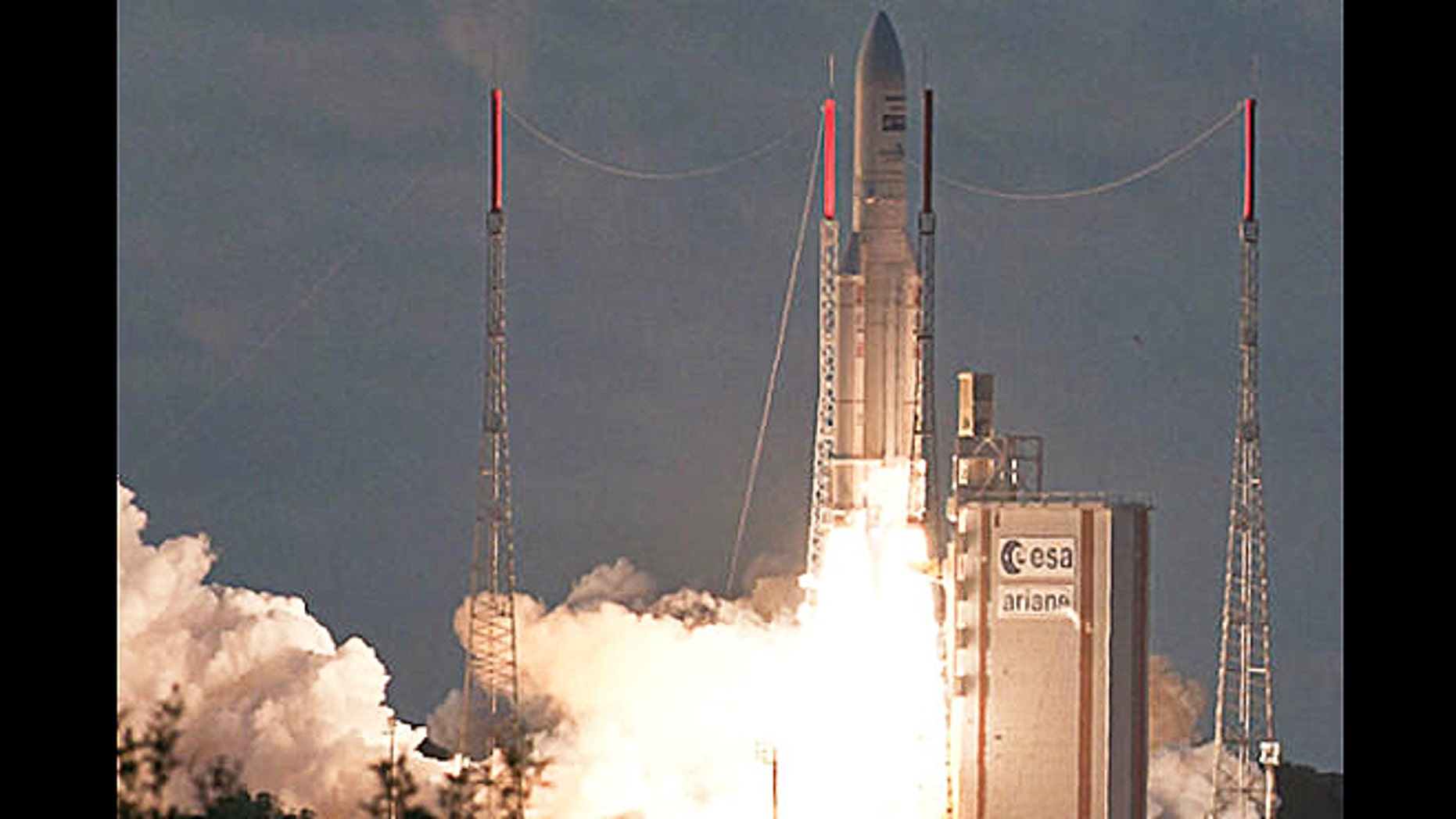 July 5, 2012: An Ariane 5 ascends from French Guiana at sunset with the EchoStar 17 and MSG-3 satellite payloads into orbit from Guiana Space Center in Kourou, French Guiana.