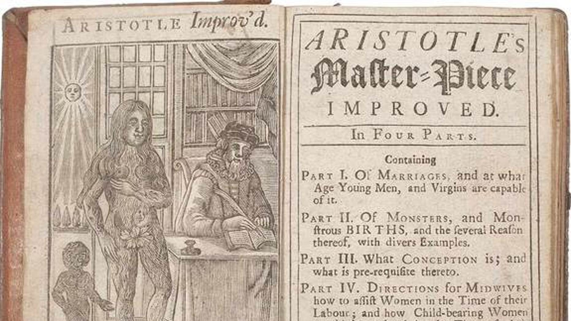 """The rare book up for auction at Lyon & Turnbull called """"Aristotle's Compleat Master-Piece"""" is actually a sex and pregnancy manual from the 17th century; it may have been banned in Britain."""