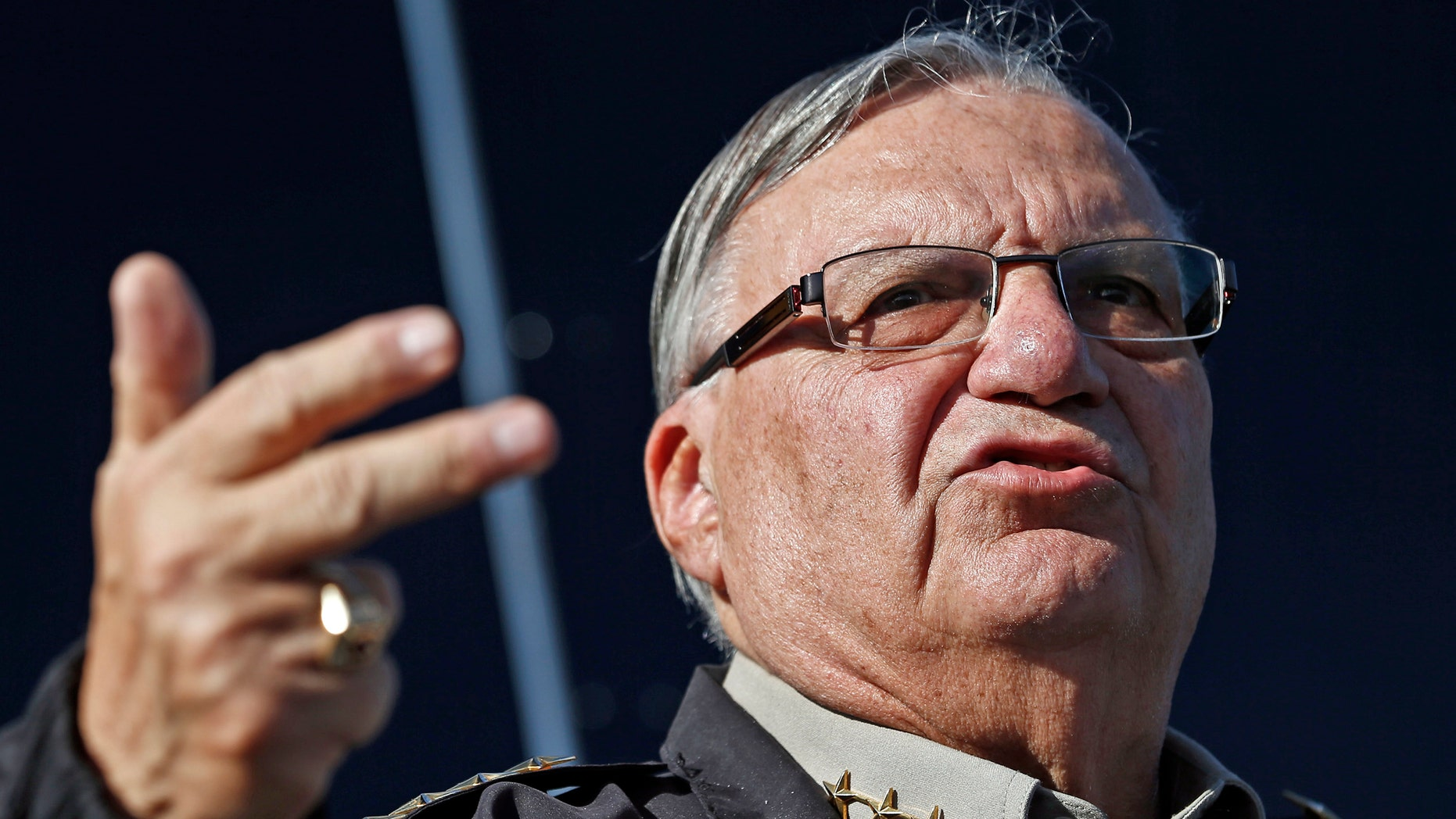 Jan. 9, 2013: Maricopa County Sheriff Joe Arpaio speaks to reporters in Phoenix, Ariz.