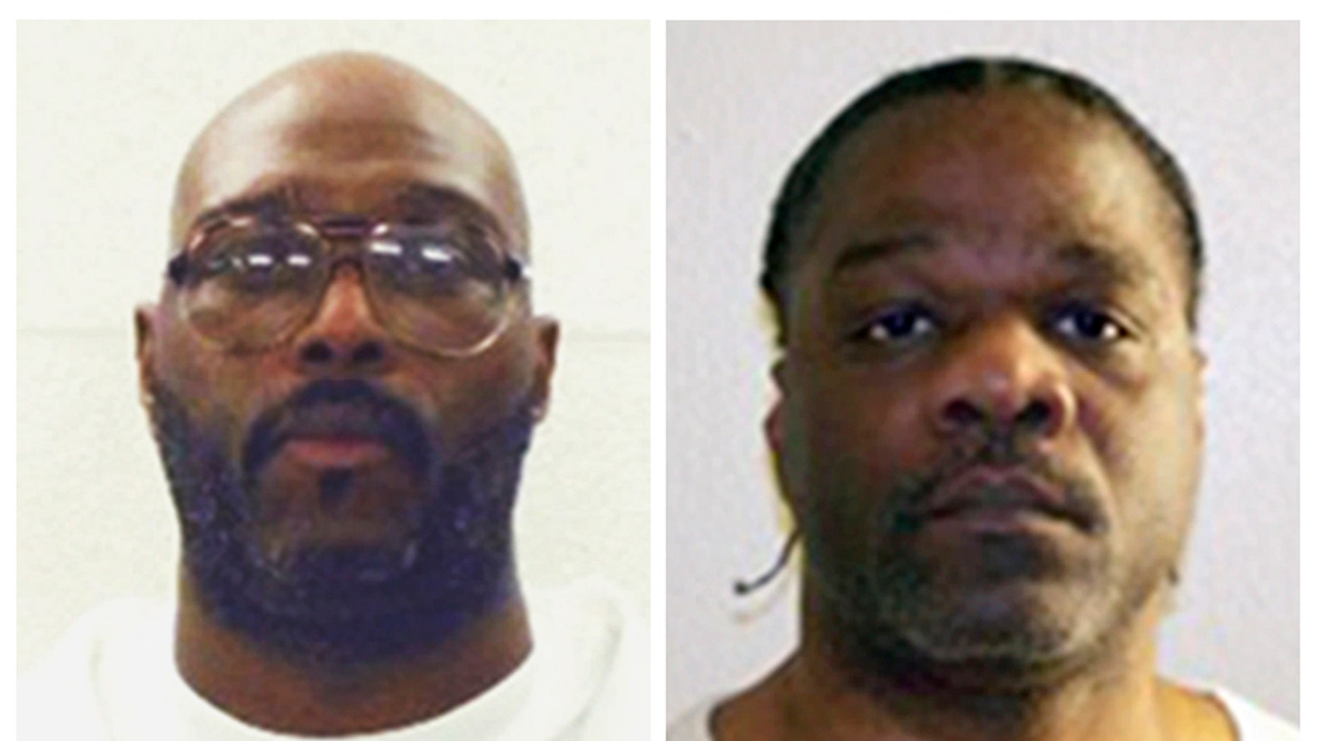 This combination of undated photos provided by the Arkansas Department of Correction shows death-row inmates Stacey E. Johnson, left, and Ledell Lee. Both men are scheduled for execution on April 20, 2017. (Arkansas Department of Correction via AP)