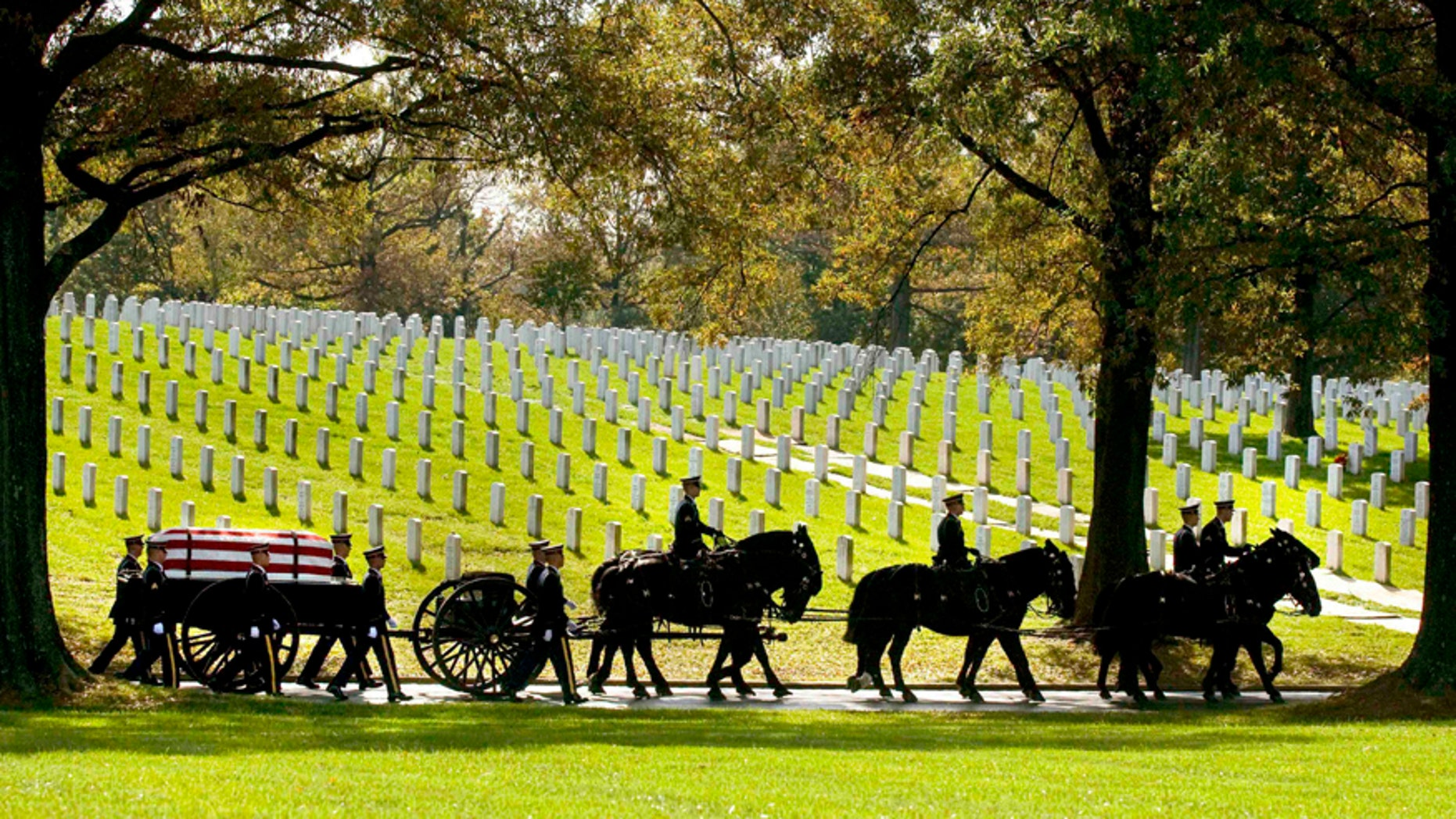 In this Nov. 2, 2010, file photo, a caisson carries the remains of Army Pfc. Tramaine J. Billingsley during burial services at Arlington National Cemetery in Arlington, Va.