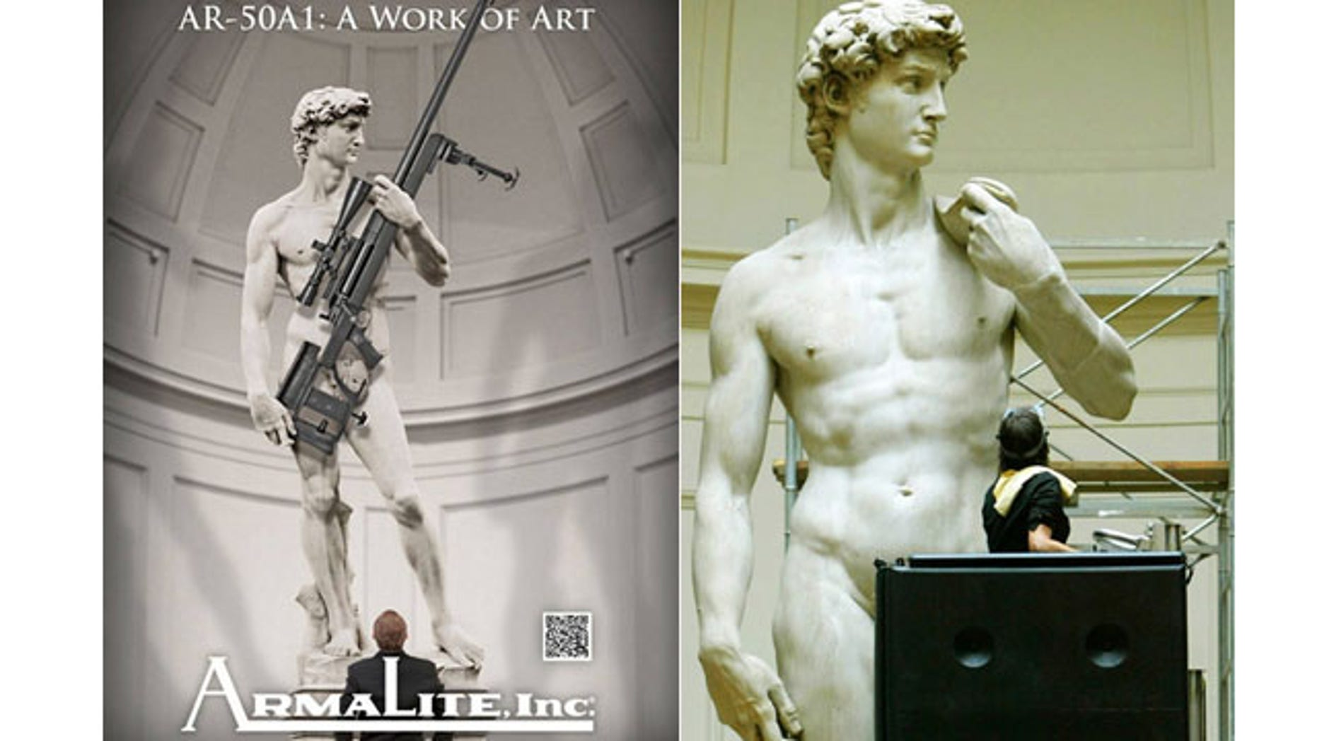 A tale of two Davids: The controversial Armalite ad, left, and the real David undergoing restoration (Armalite/Reuters)