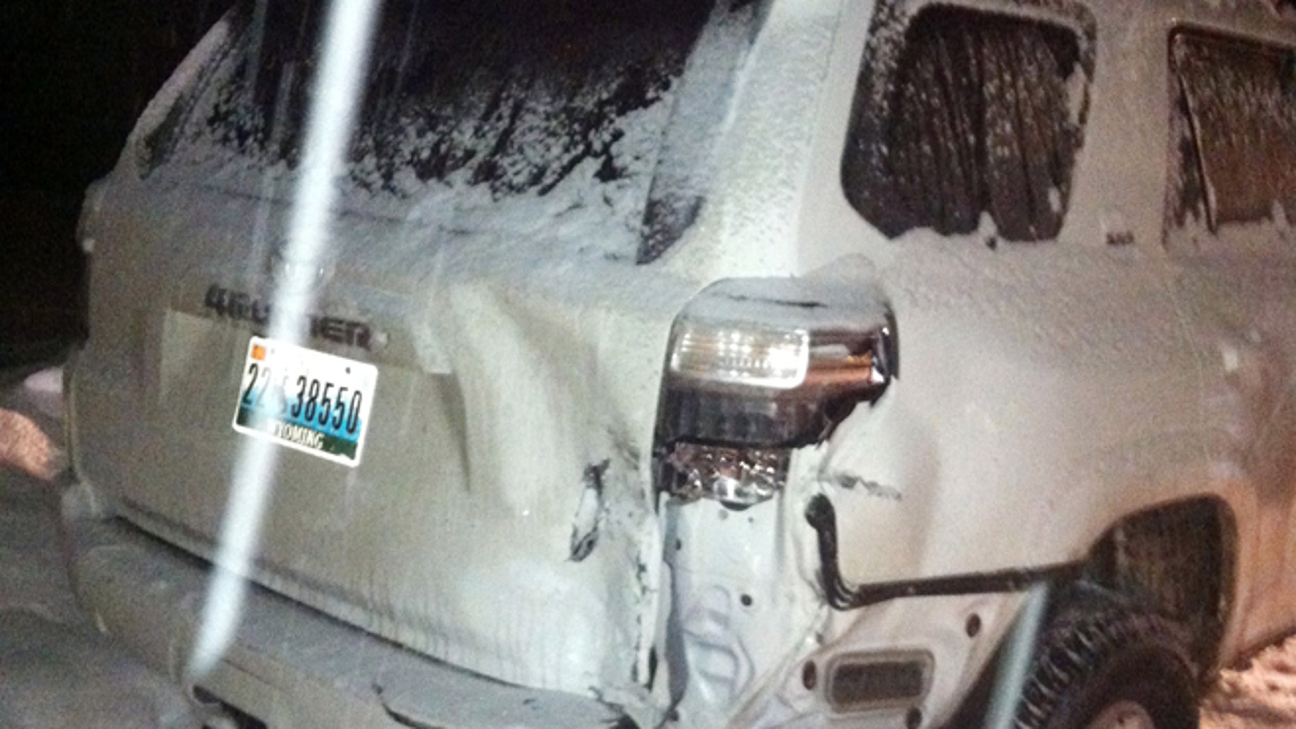 Dec. 28, 2014: This photo provided by the Aspen Police Department shows one of the two vehicles involved in a hit-and-run in Aspen, Colo. (AP)