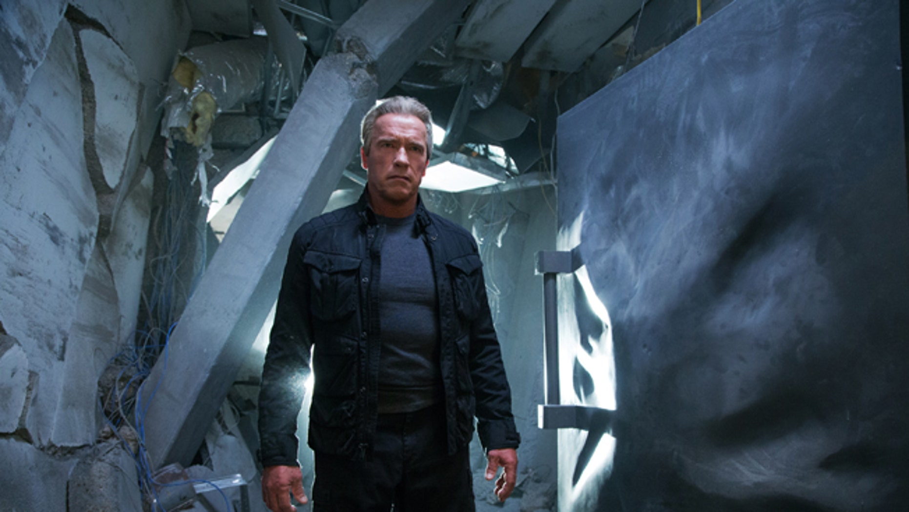 """Arnold Schwarzenegger in a scene from """"Terminator: Genisys,"""" the fifth film in the series created by James Cameron in 1984."""
