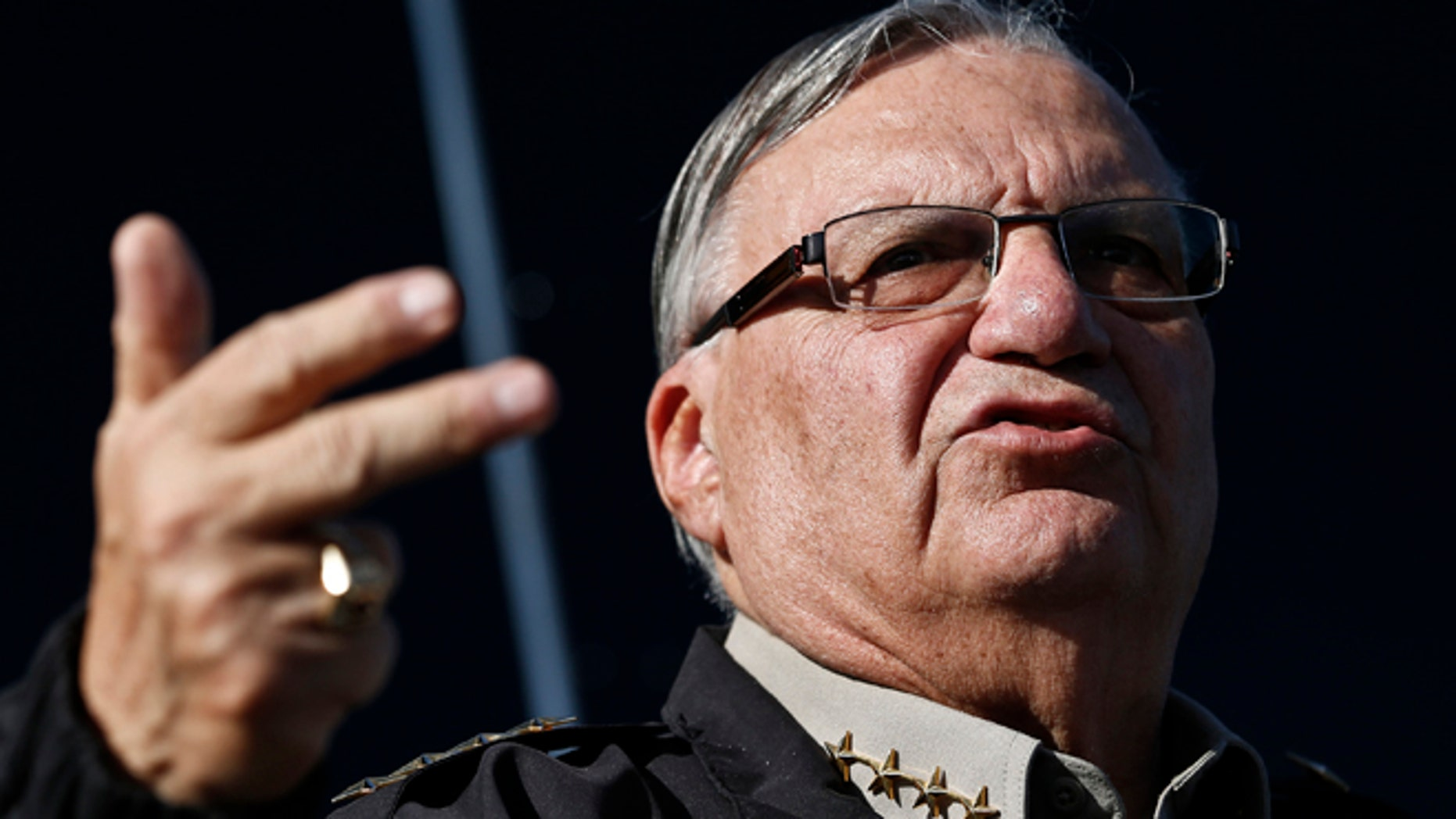 Jan. 9, 2013: Maricopa County, Ariz., Sheriff Joe Arpaio speaks in Phoenix.