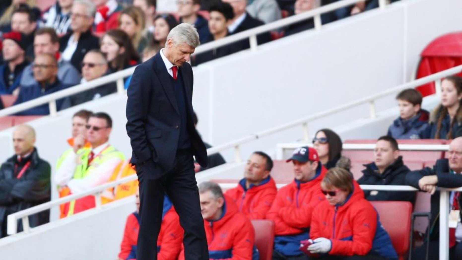 during the Barclays Premier League match between Arsenal and Crystal Palace at the Emirates Stadium on April 17, 2016 in London, England.