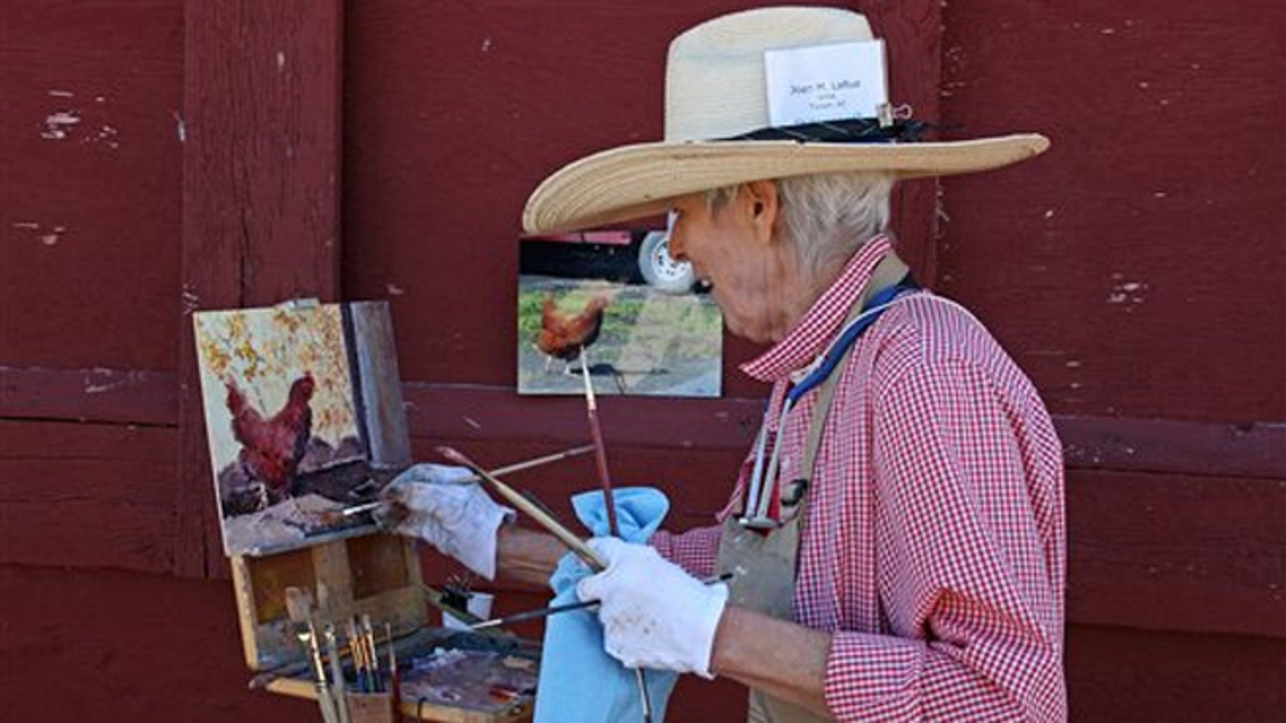Aug. 20, 2011: Joan LaRue of Tucson, Ariz., participating in Quick Draw at the Sieben Ranch north of Helena, Mont.