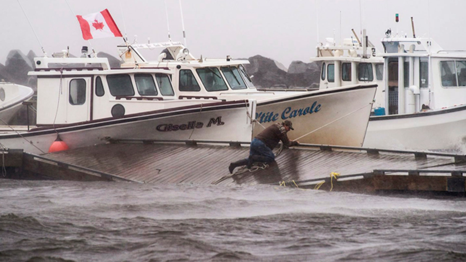 July 5, 2014: A lobster fisherman slips but holds on while trying to secure lines to his fishing boat after the floating dock broke apart during tropical storm Arthur in Escuminac, New Brunswick. (AP)