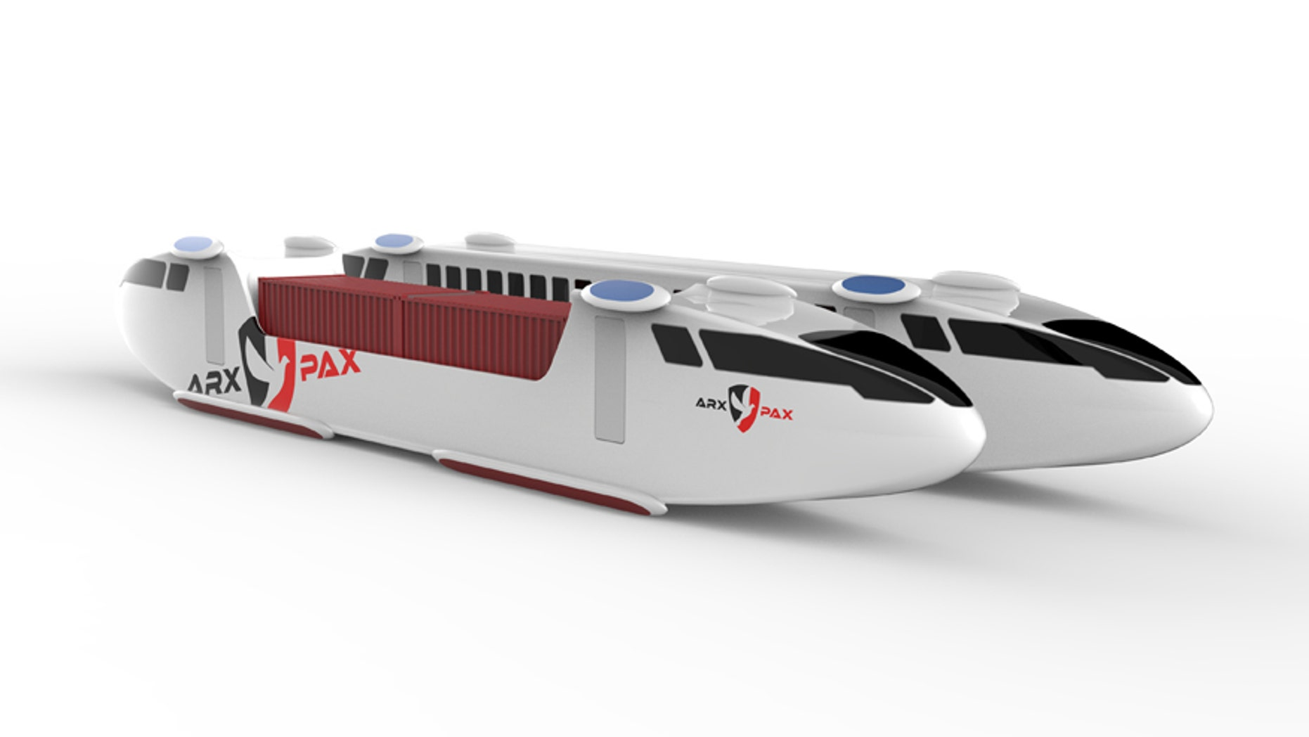 Arx Pax's concept for a Hyperloop pod using its patented Hover Engines (Arx Pax)