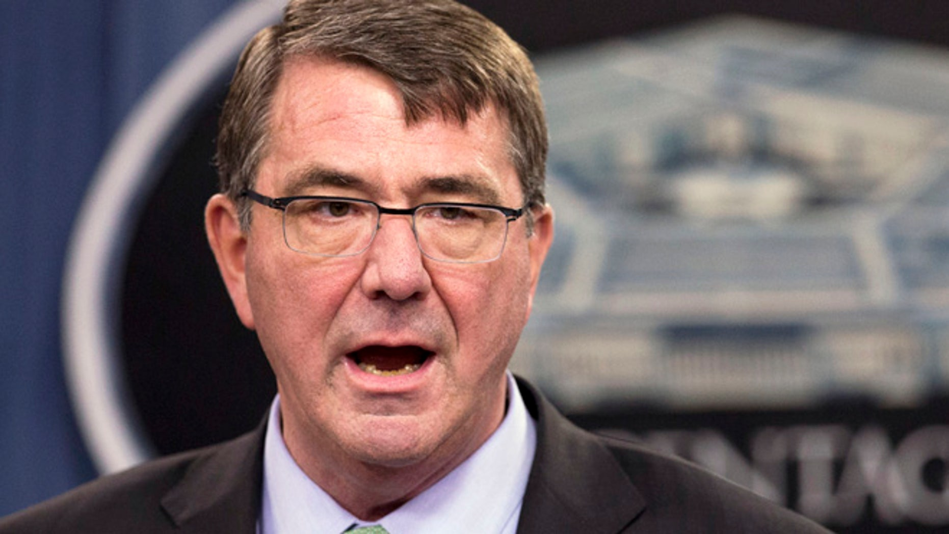 May 1, 2015: Defense Secretary Ash Carter speaks during a news conference at the Pentagon in Washington.