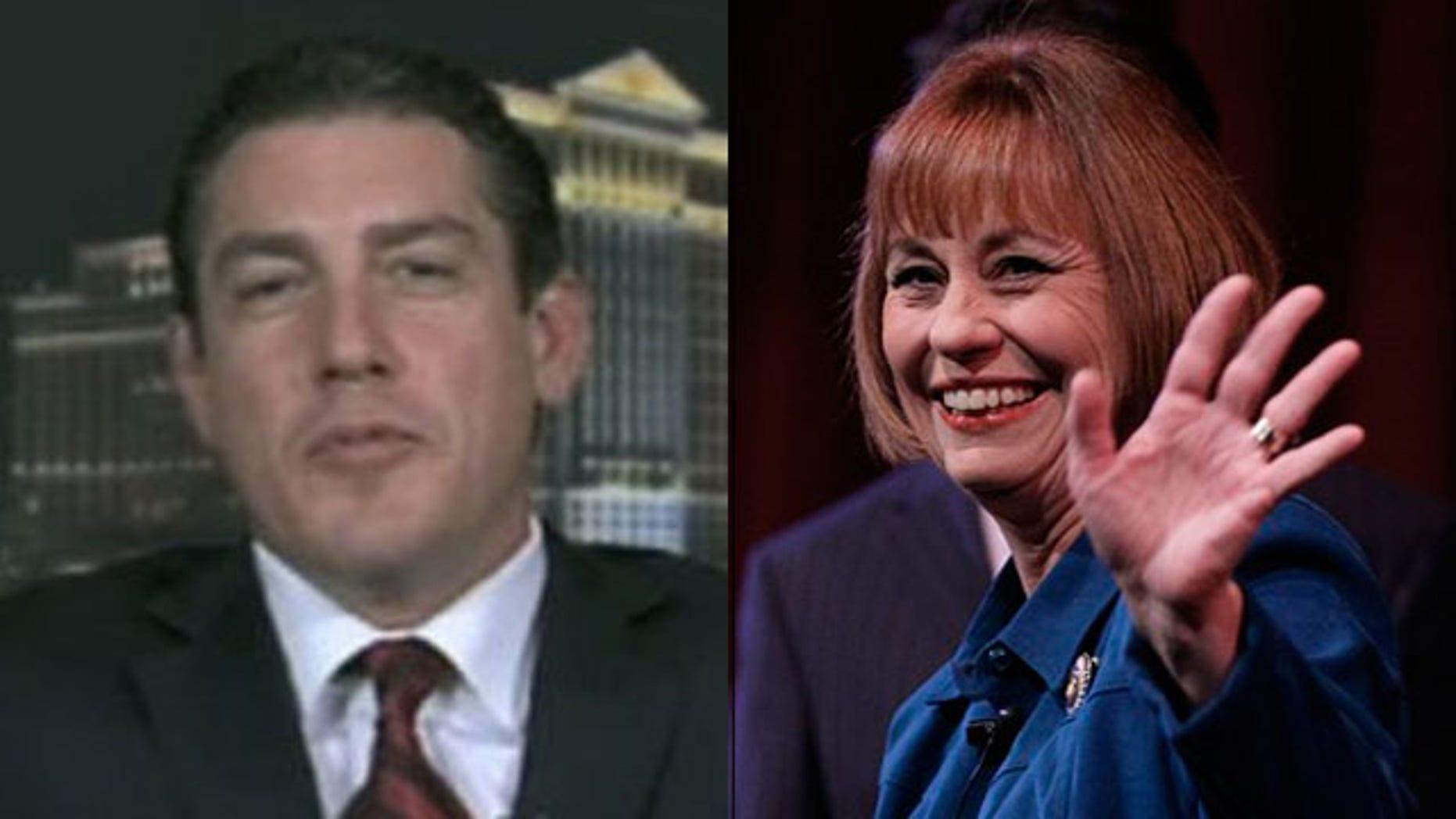 Shown here are Nevada Senate candidates Jon Scott Ashjian, left, and Sharron Angle. (FNC/AP)