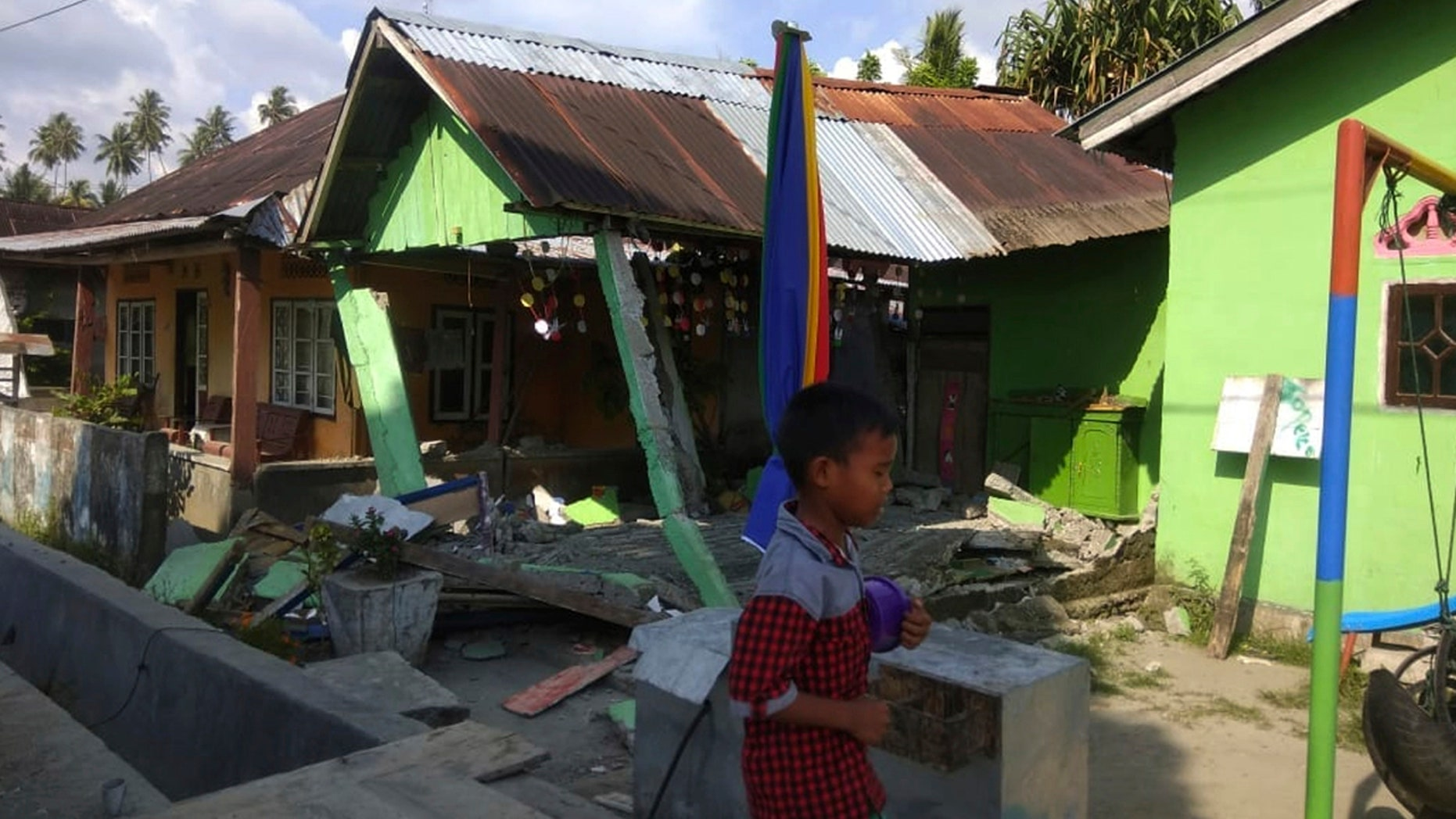 A photo from a 6.1-magnitude earthquake that hit Donggala, Indonesia hours before a 7.5 quake struck the region.