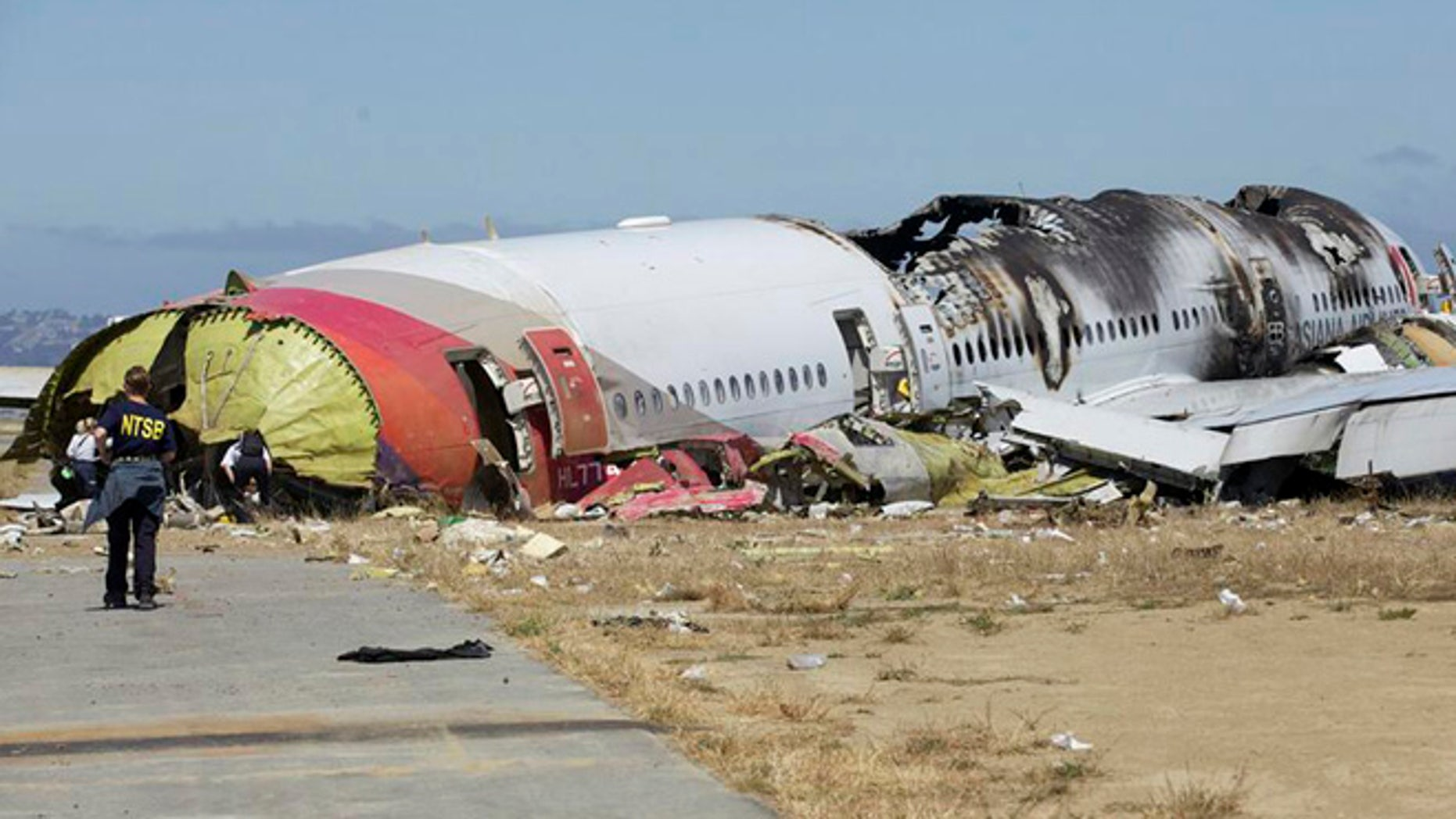 July 7, 2013: This U.S. National Transportation Safety Board (NTSB) photo shows the wreckage of Asiana Airlines Flight 214 that crashed at San Francisco International Airport in San Francisco, California.