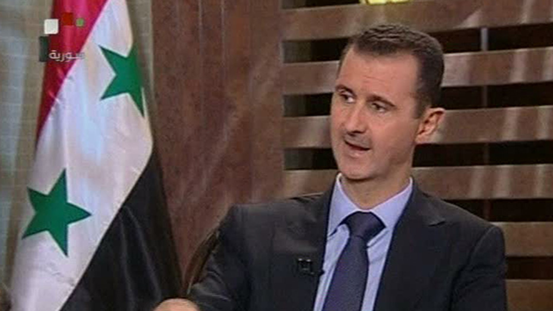 Syrian President Bashar Assad seen during a television interview in August 2011.