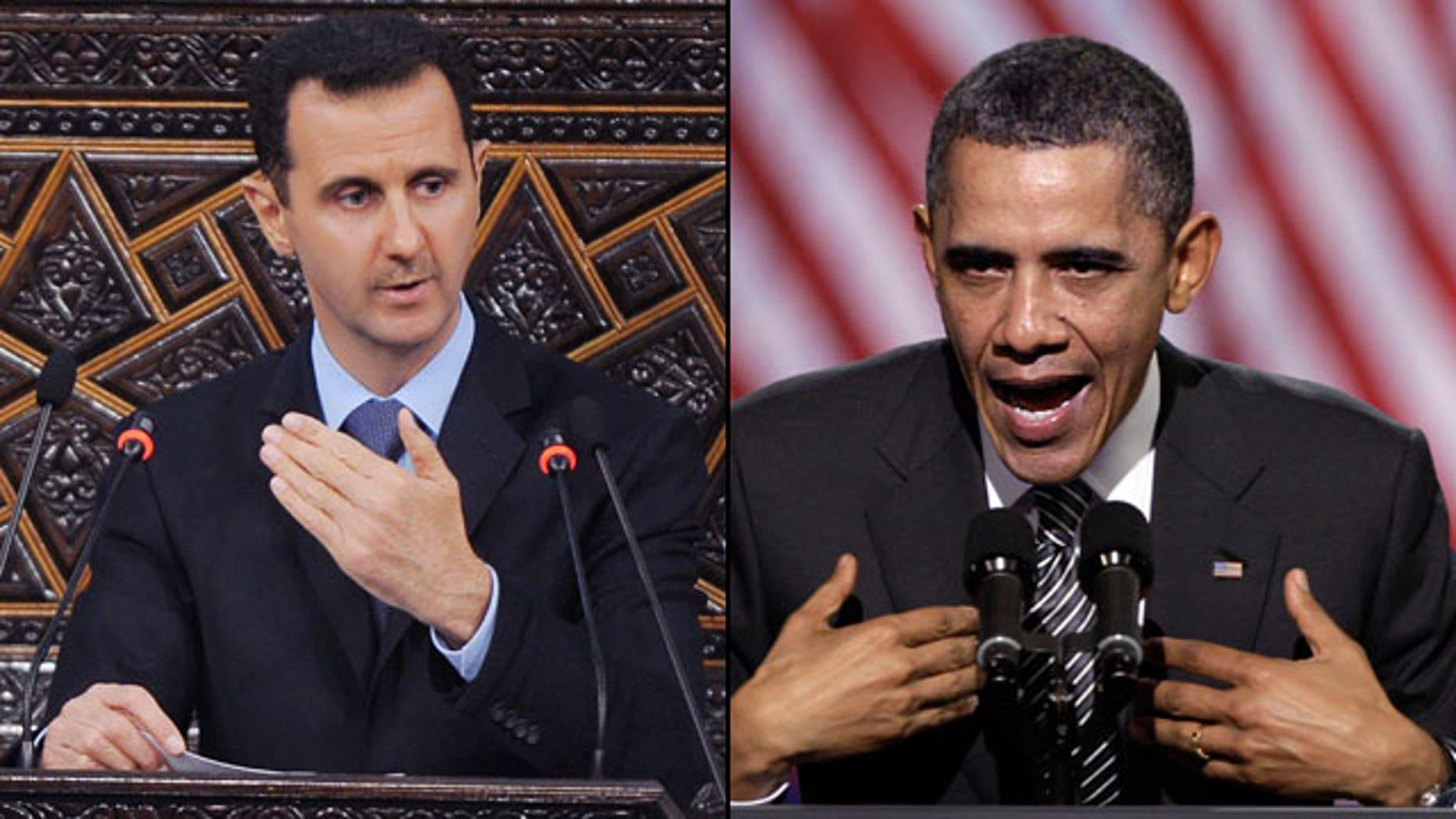 Syrian President Bashar Assad is pushing back against President Obama's condemnation of his violent crackdown on protesters. (AP)