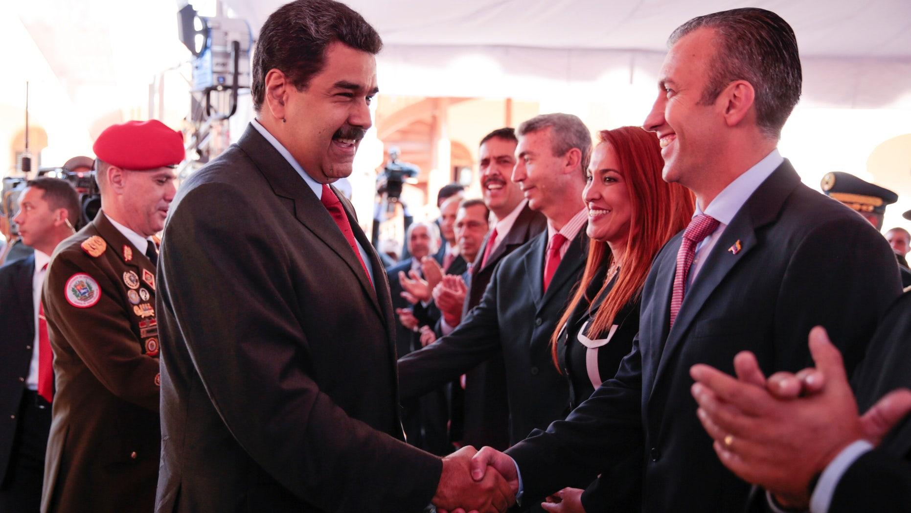 Venezuela's President Nicolas Maduro and VP Tarek El Aissami in Caracas, Venezuela on Jan. 4, 2017