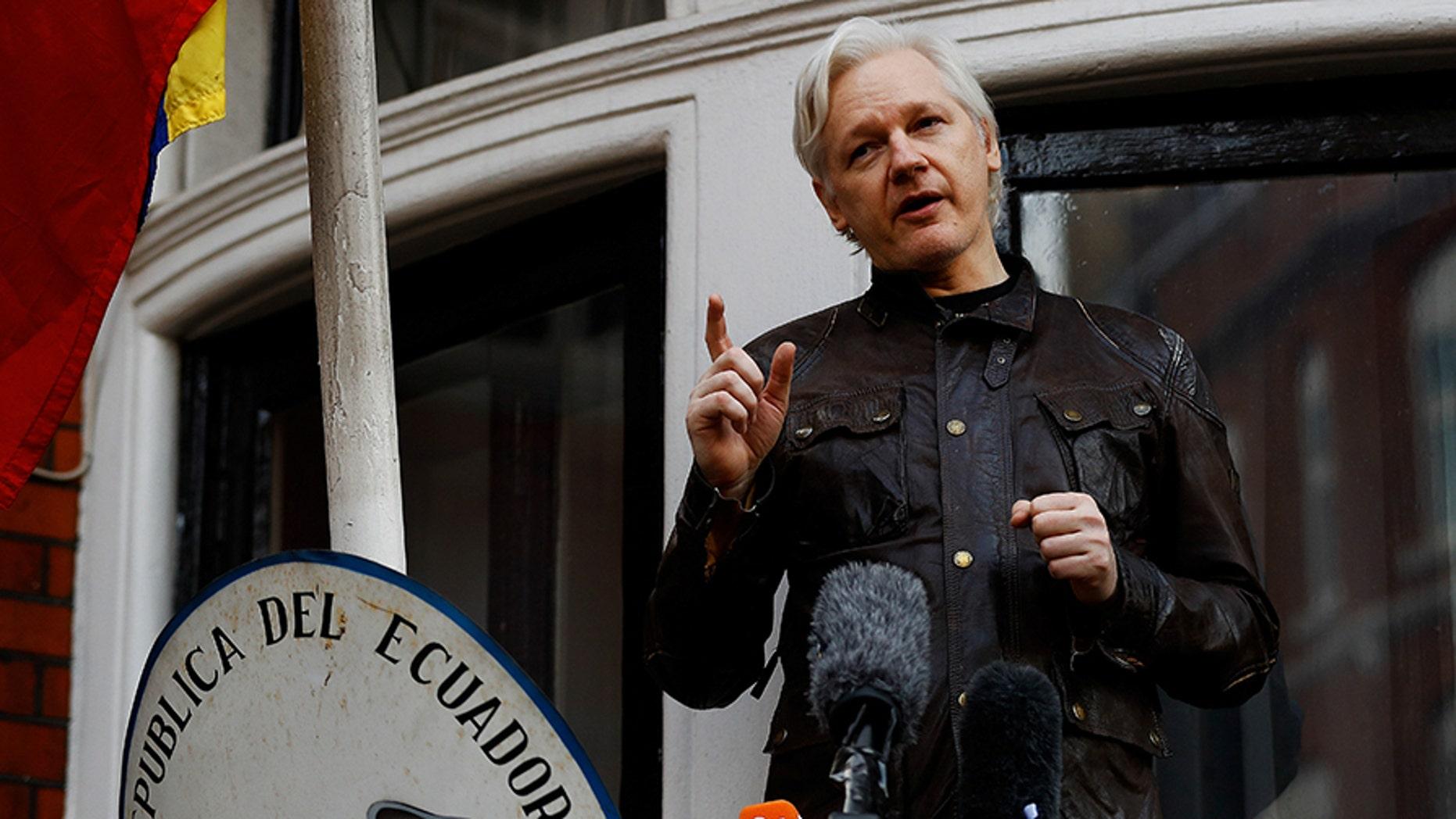 WikiLeaks founder Julian Assange is seen on the balcony of the Ecuadorian Embassy in London, Britain, May 19, 2017.