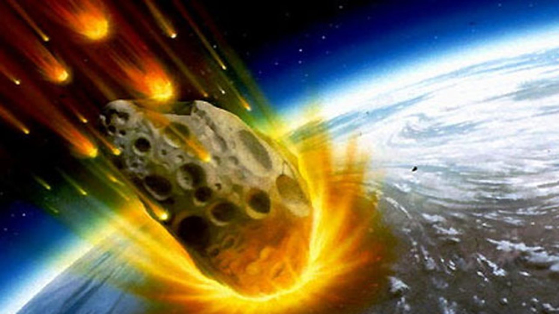 An artist's impression of an asteroid about to smash into the Earth.
