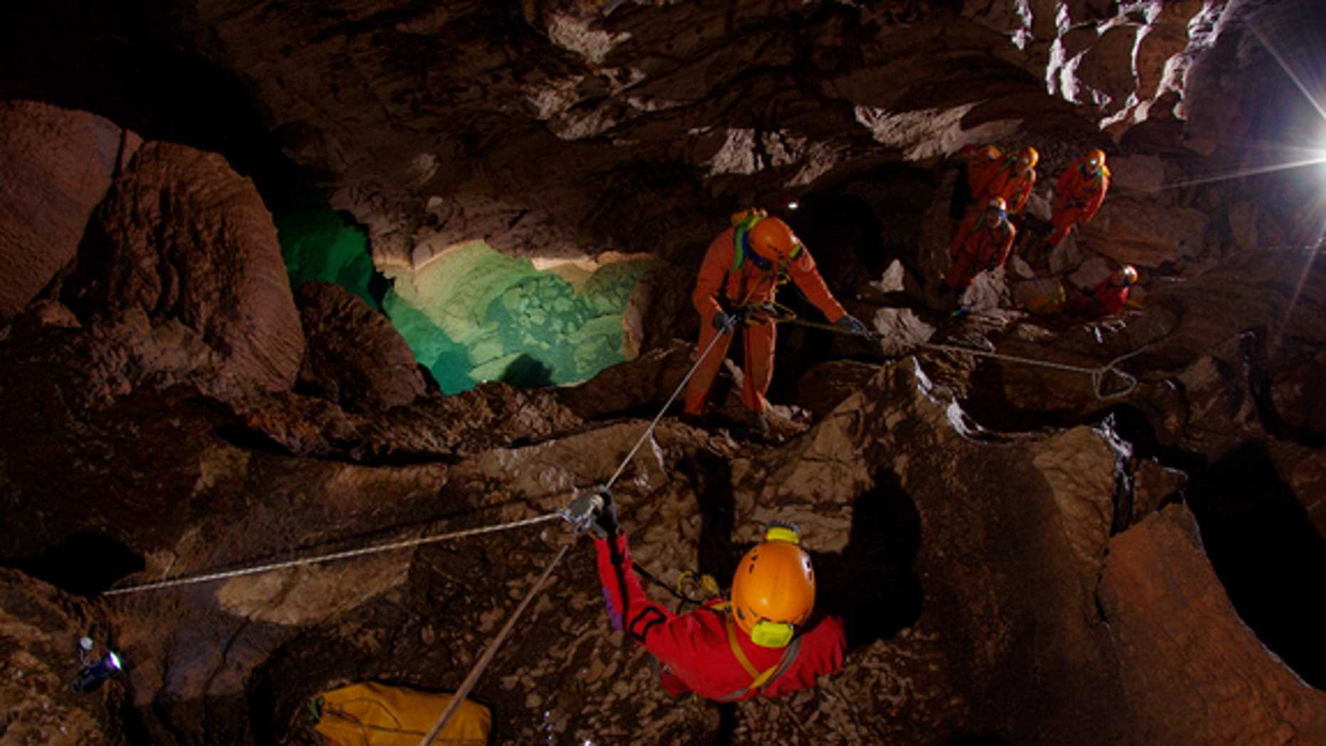 """Astronauts go on a """"cavewalk"""" during the European Space Agency's CAVES project.  Moving in a cave is similar to a spacewalk, ESA officials say; it requires safety tethering and 3D orientation, with no-touch areas and dangerous, off-limits zones"""