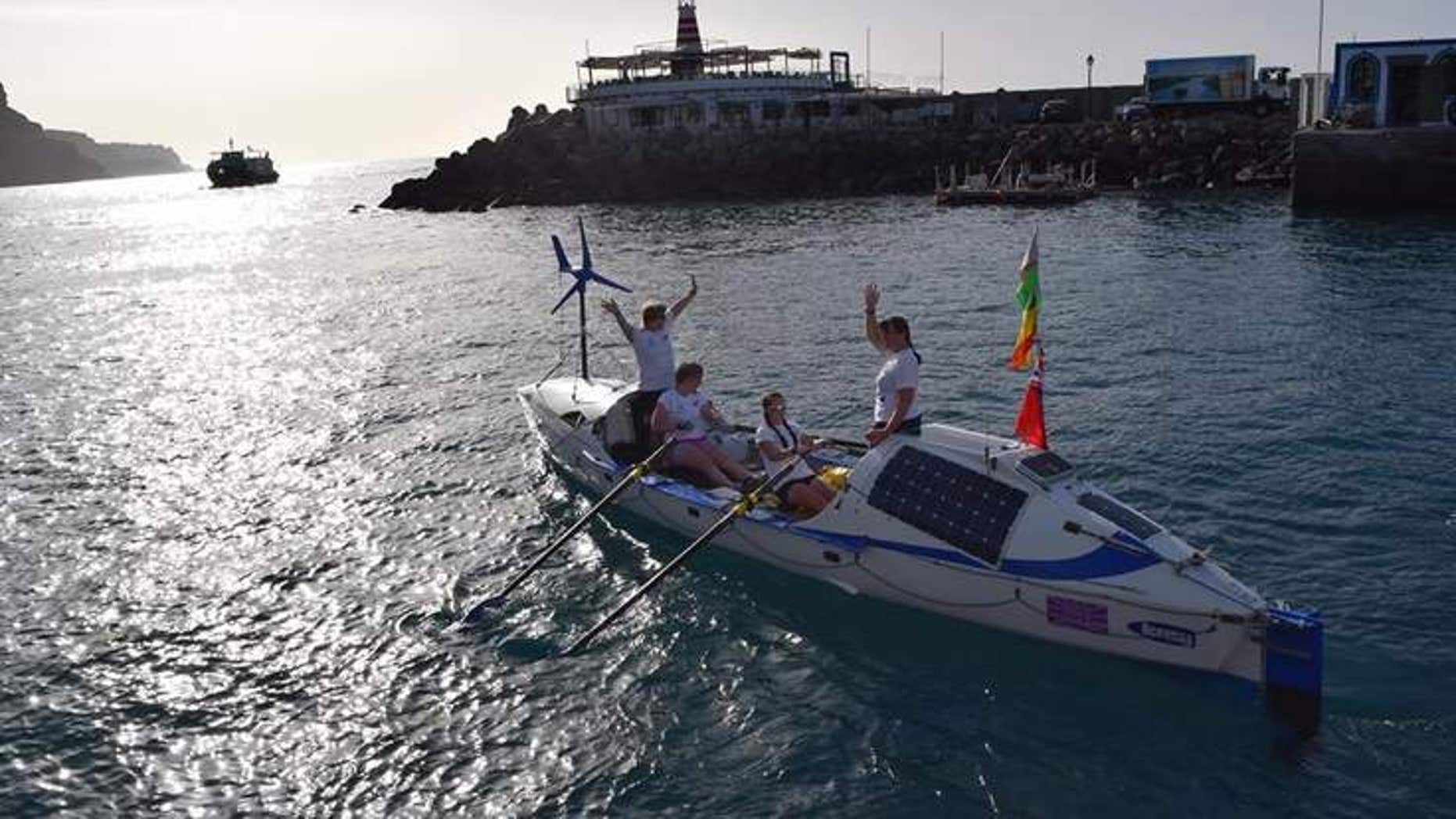 The rowers setting off on their trip in January.