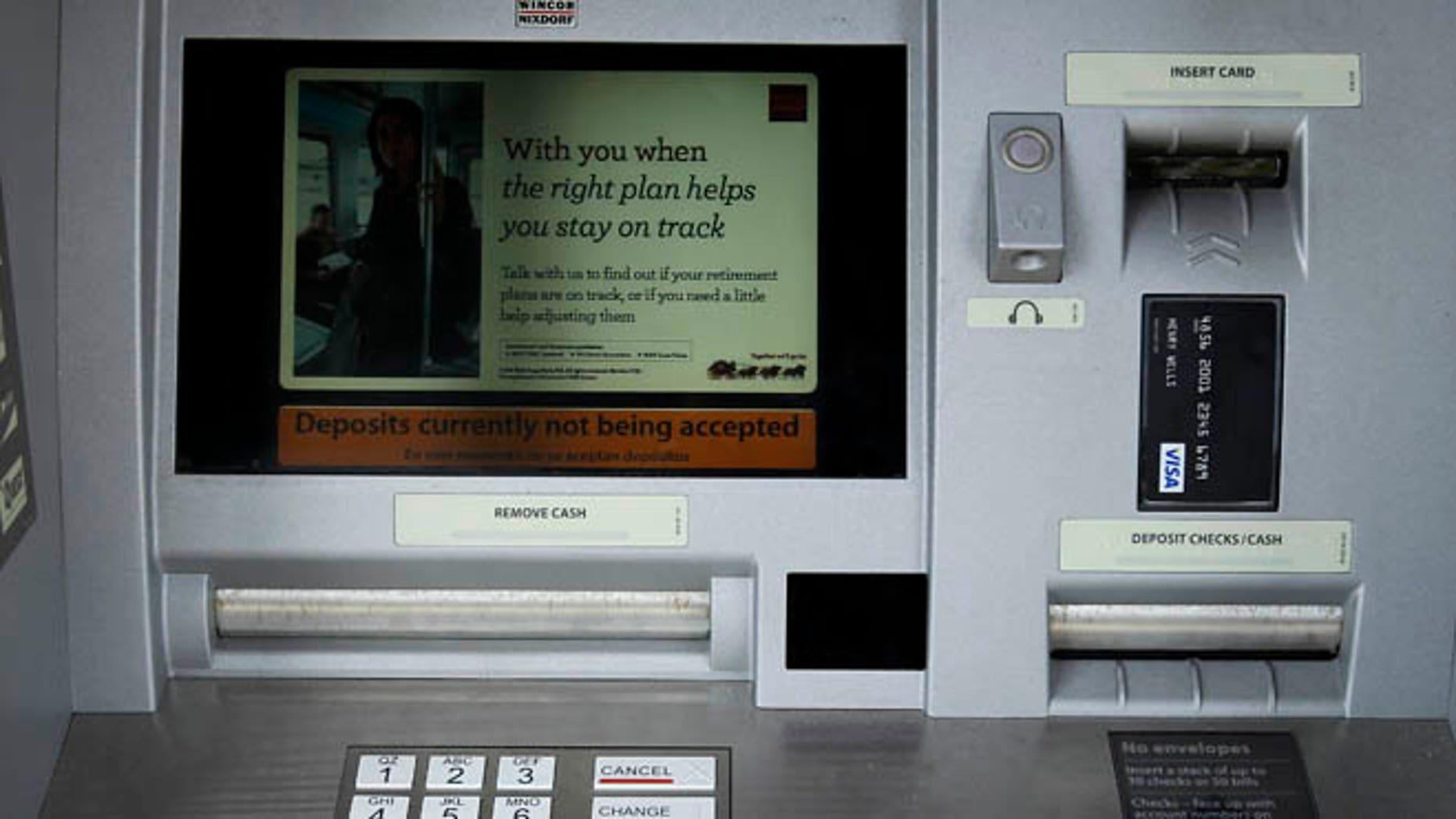 April 19, 2011: A Wells Fargo ATM bank machine is shown here in Solana Beach, California.