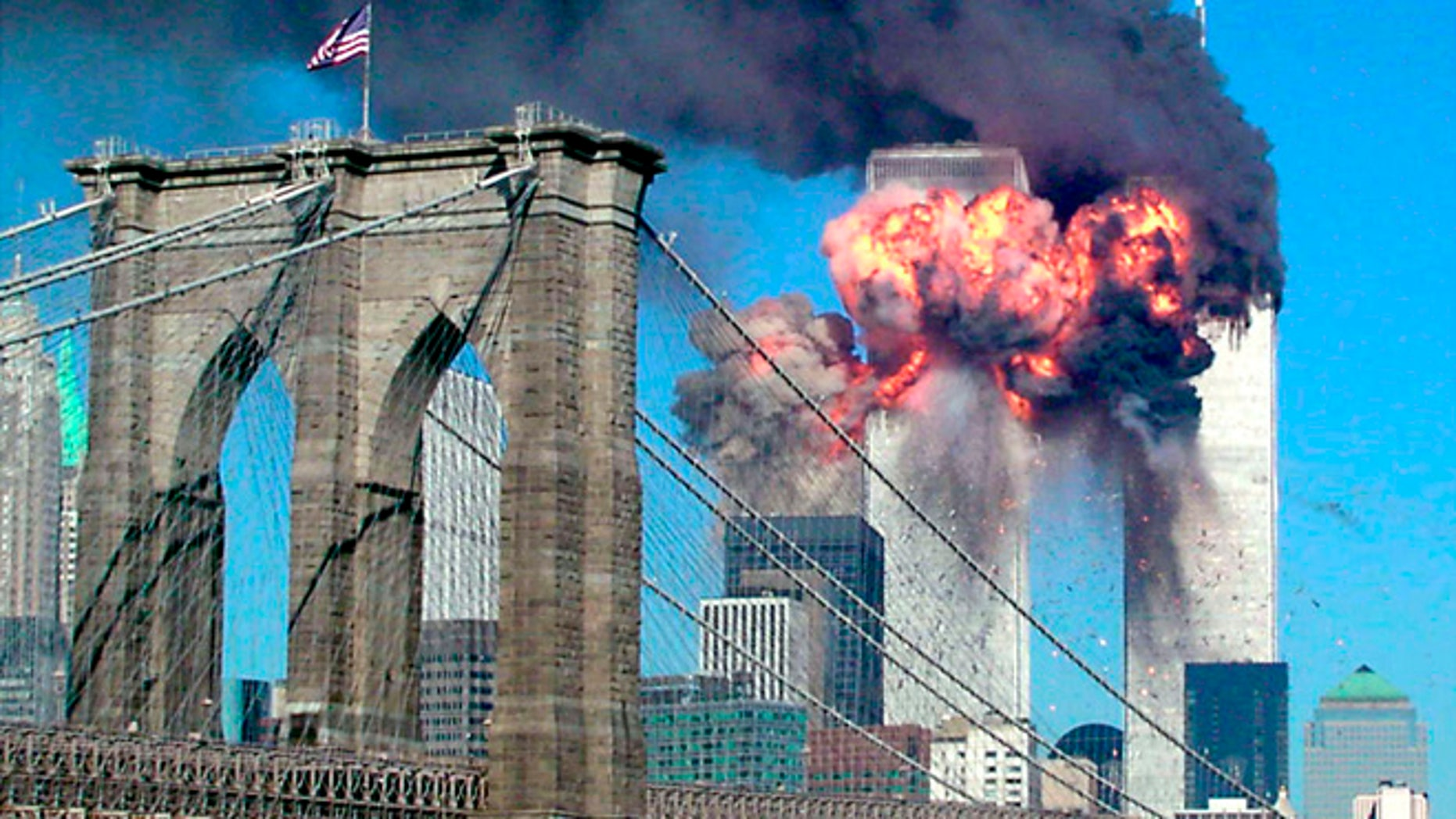 The second of the World Trade Center bursts into flames on September 11, 2001.