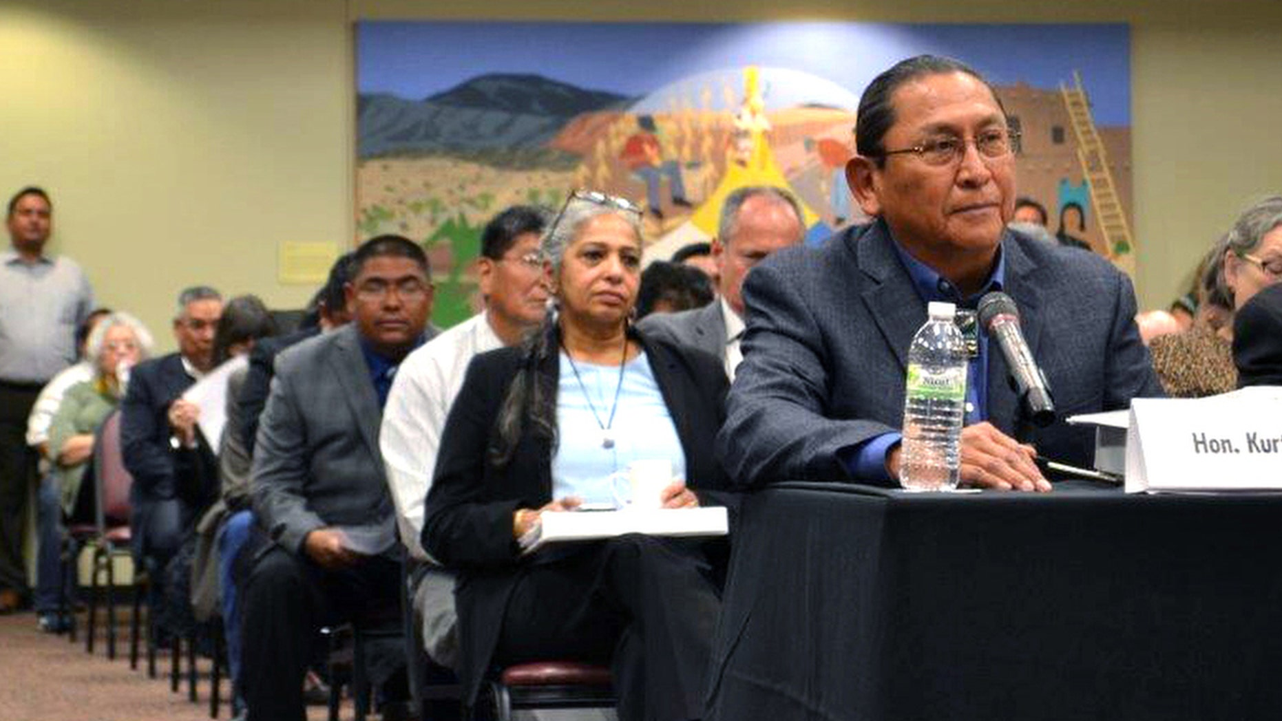 Gov. Kurt Riley of Acoma Pueblo testifies at a congressional field hearing in Albuquerque, N.M., on Tuesday, Oct. 18, 2016.