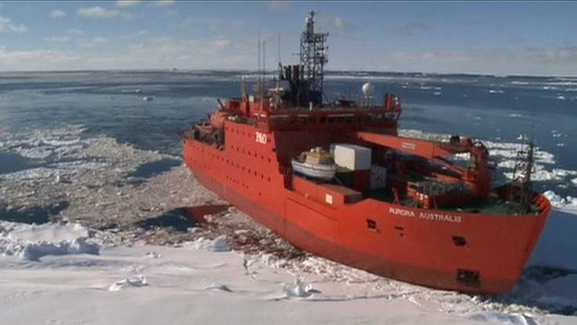 The Aurora Australis icebreaker ship.