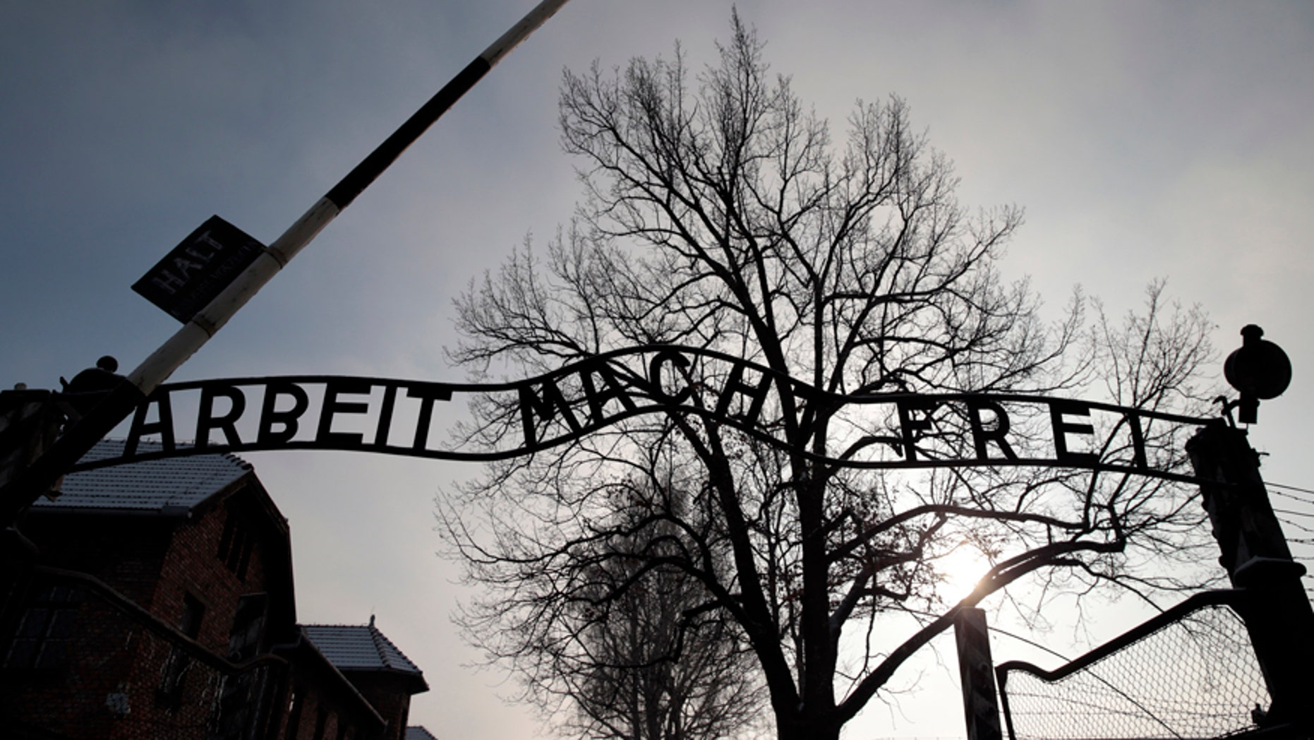 "The sign ""Arbeit macht frei"" (Work makes you free) is pictured at the main gate of the former Auschwitz concentration camp."